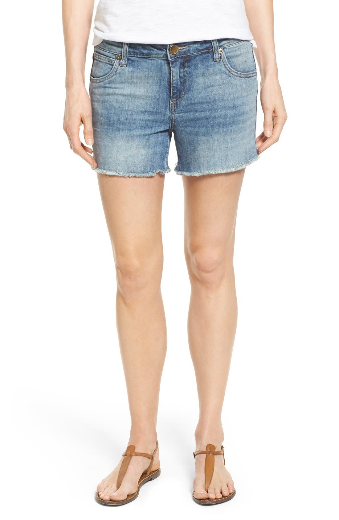'Gidget' Denim Cutoff Shorts,                             Main thumbnail 1, color,                             420
