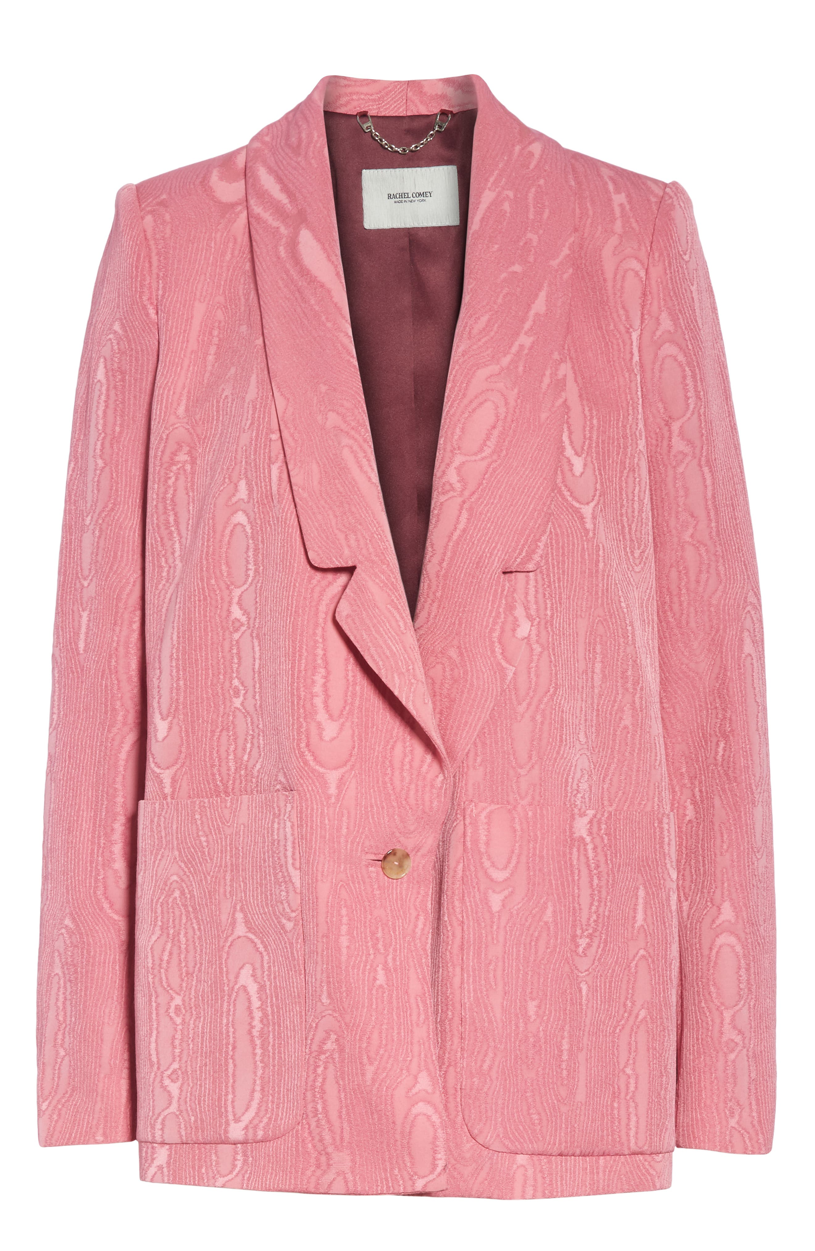 Lovely Wool Blend Moiré Blazer,                             Alternate thumbnail 5, color,                             PINK