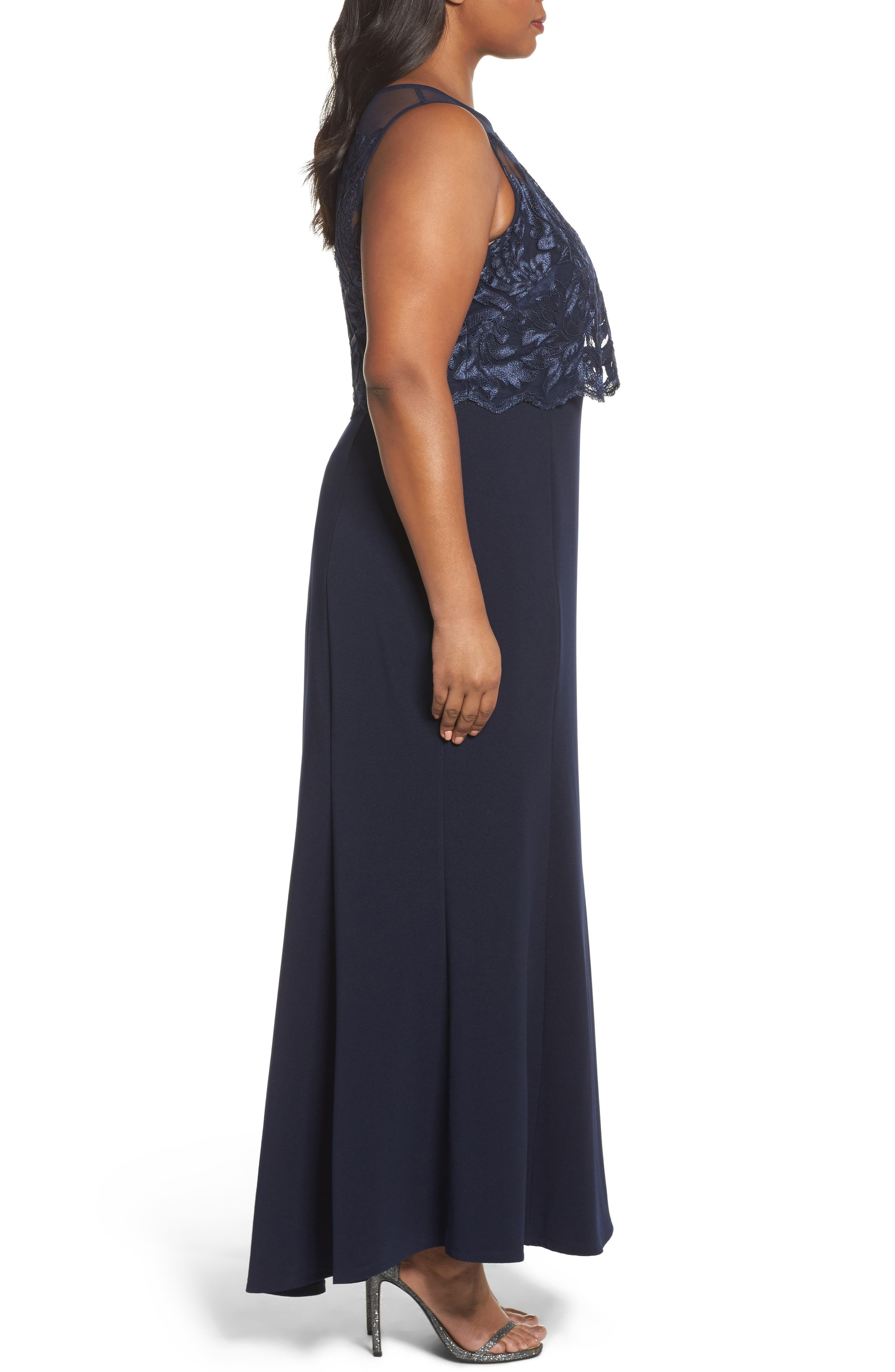 Popover Lace Gown,                             Alternate thumbnail 3, color,                             410