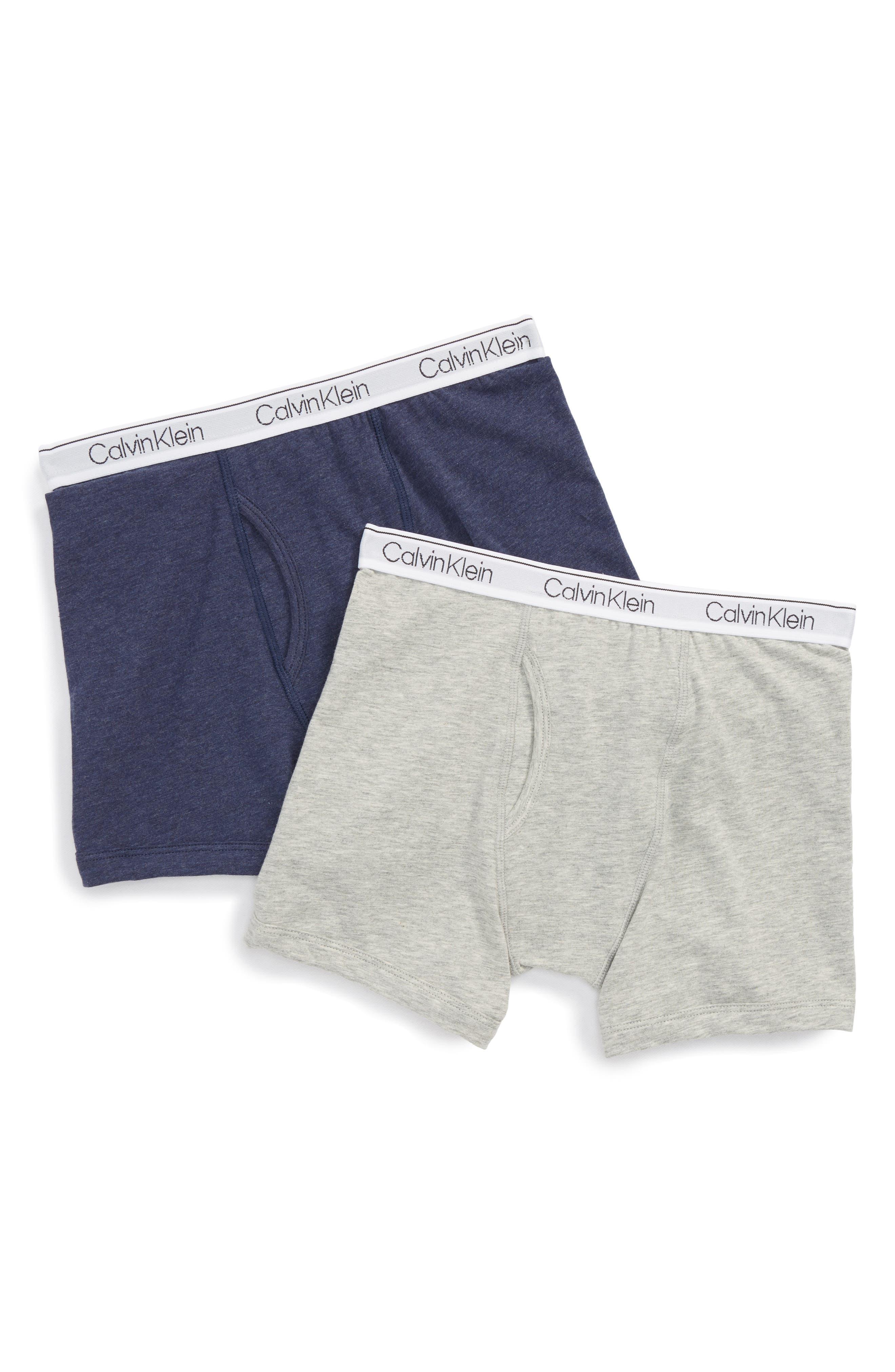Boys Calvin Klein 2Pack Modern Boxer Briefs Size S (67)  Grey