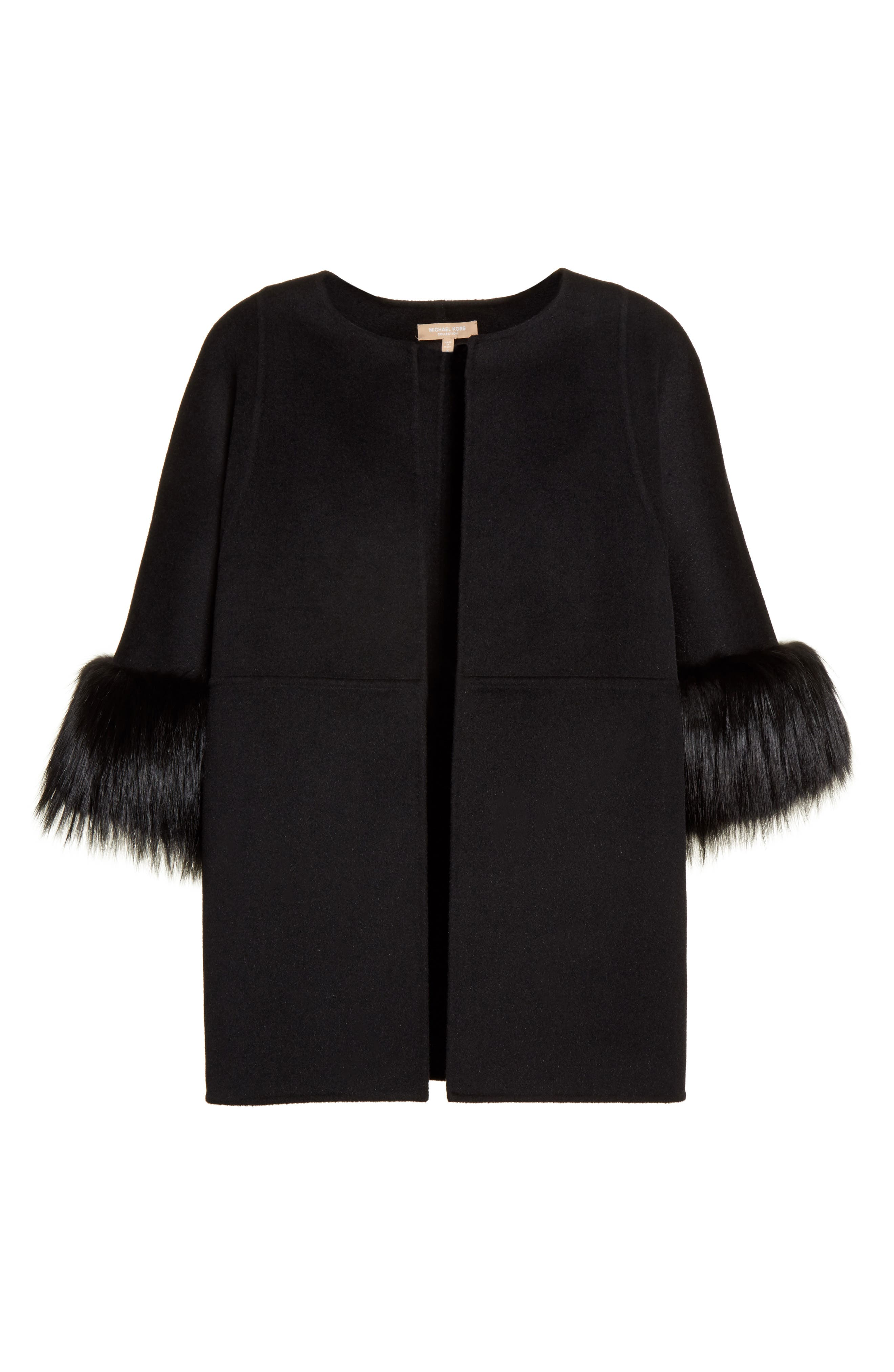 Genuine Fox Fur Trim Wool Blend Jacket,                             Alternate thumbnail 5, color,                             001