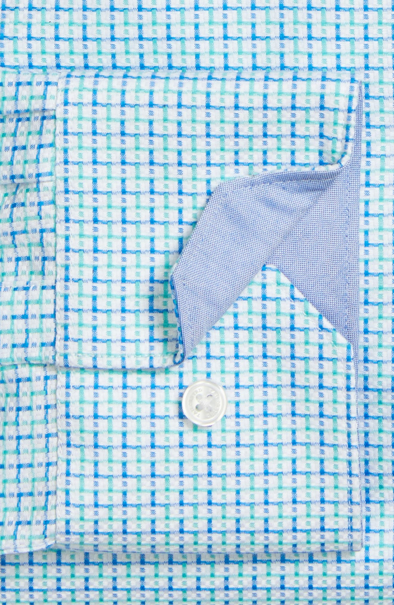 Trim Fit Geometric Dress Shirt,                             Alternate thumbnail 4, color,