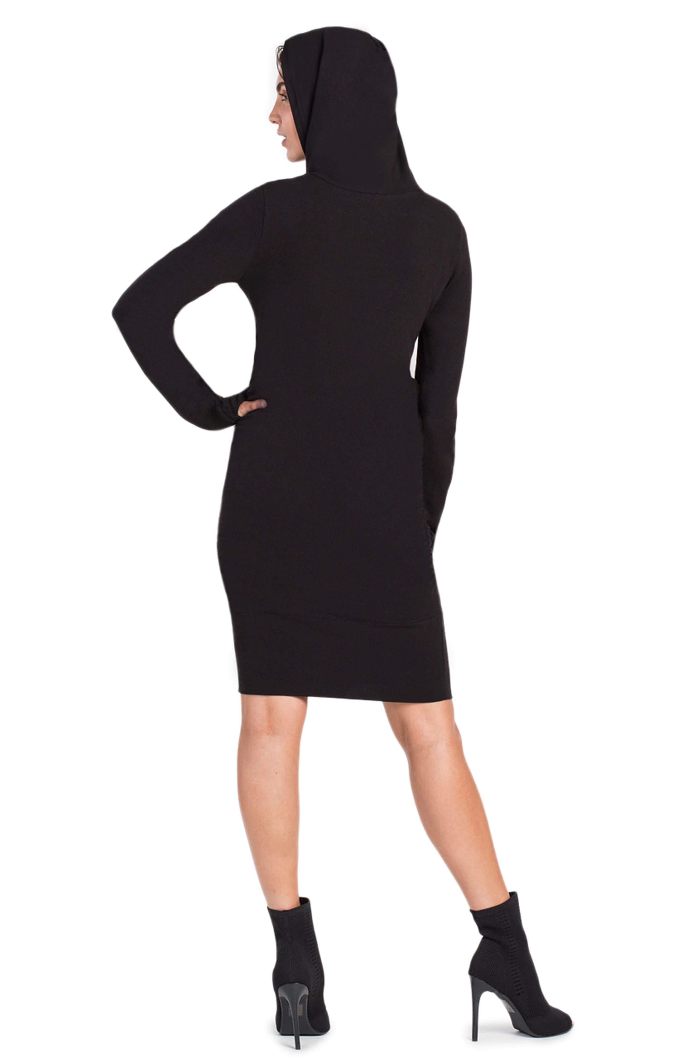 Stella Hoodie Maternity/Nursing Dress,                             Alternate thumbnail 2, color,                             BLACK