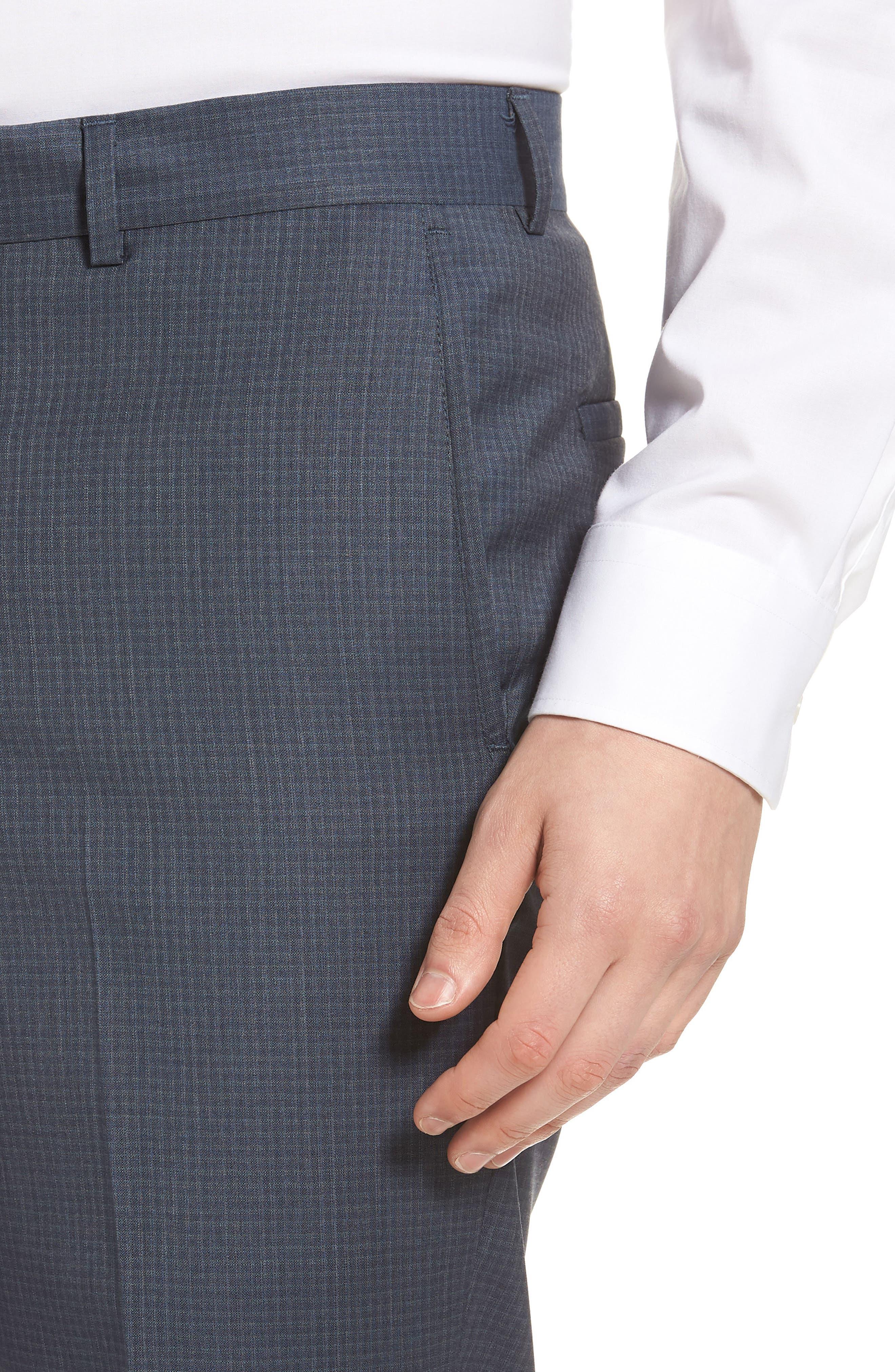 Tech-Smart Check Flat Front Stretch Wool Pants,                             Alternate thumbnail 5, color,                             030