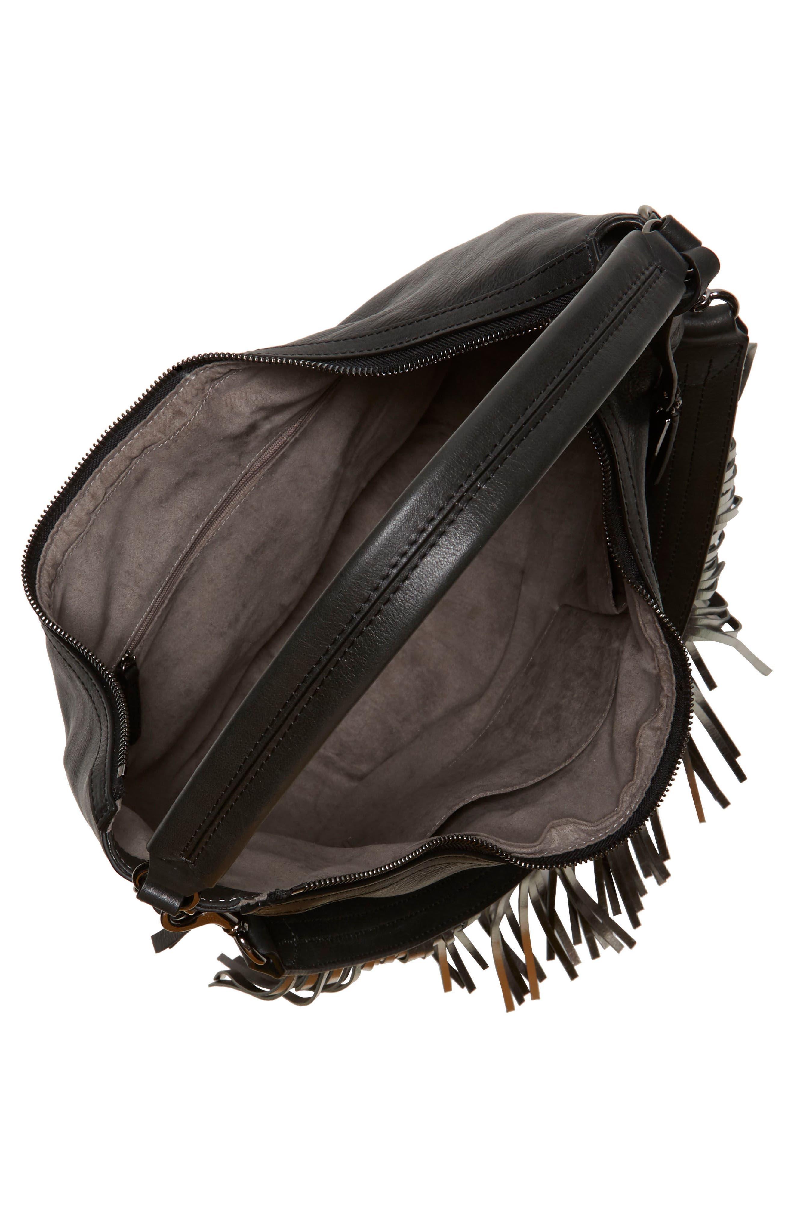 Hil Leather Hobo Bag,                             Alternate thumbnail 3, color,                             002