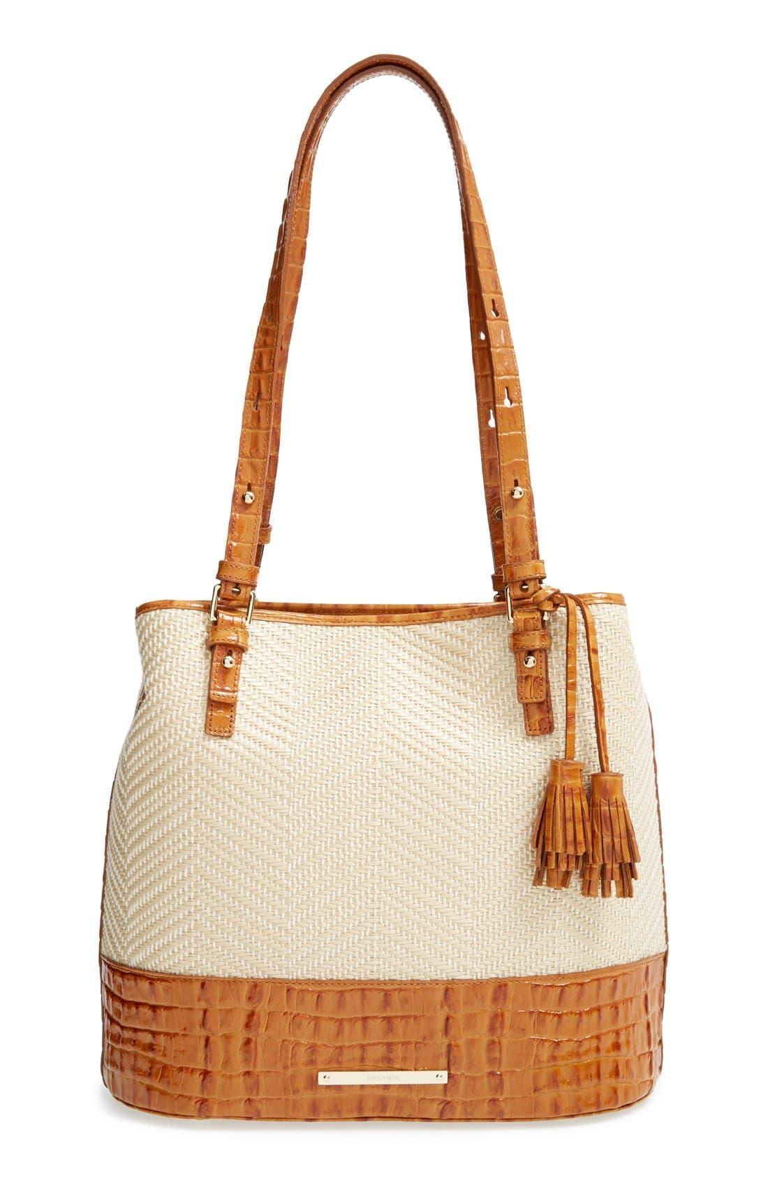 'Hudson' Leather & Raffia Bucket Bag, Main, color, 250