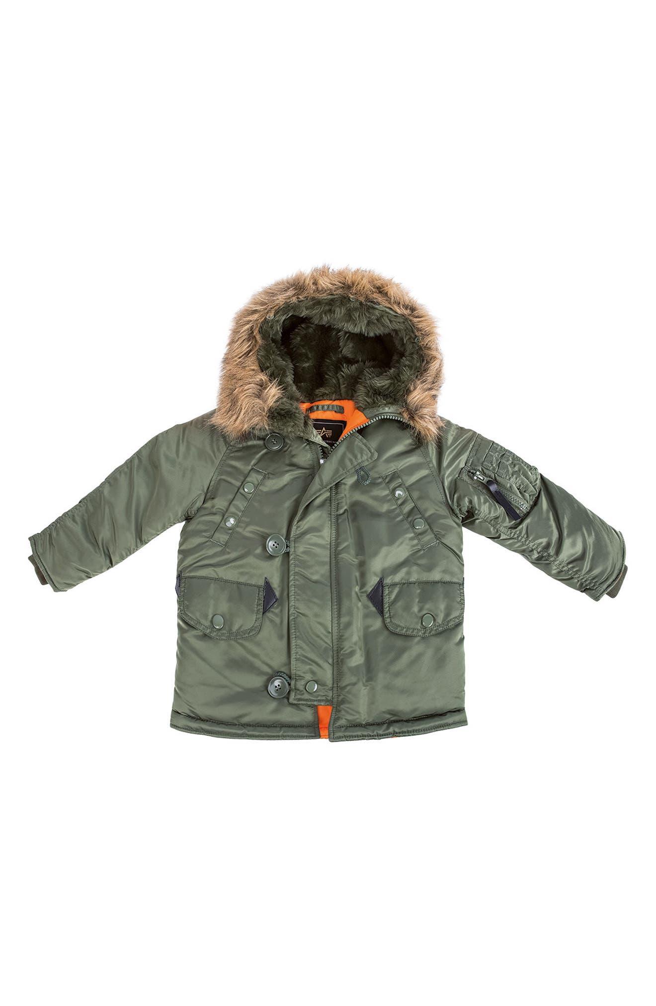 N-3B Water Resistant Faux Fur Parka,                         Main,                         color, SAGE GREEN