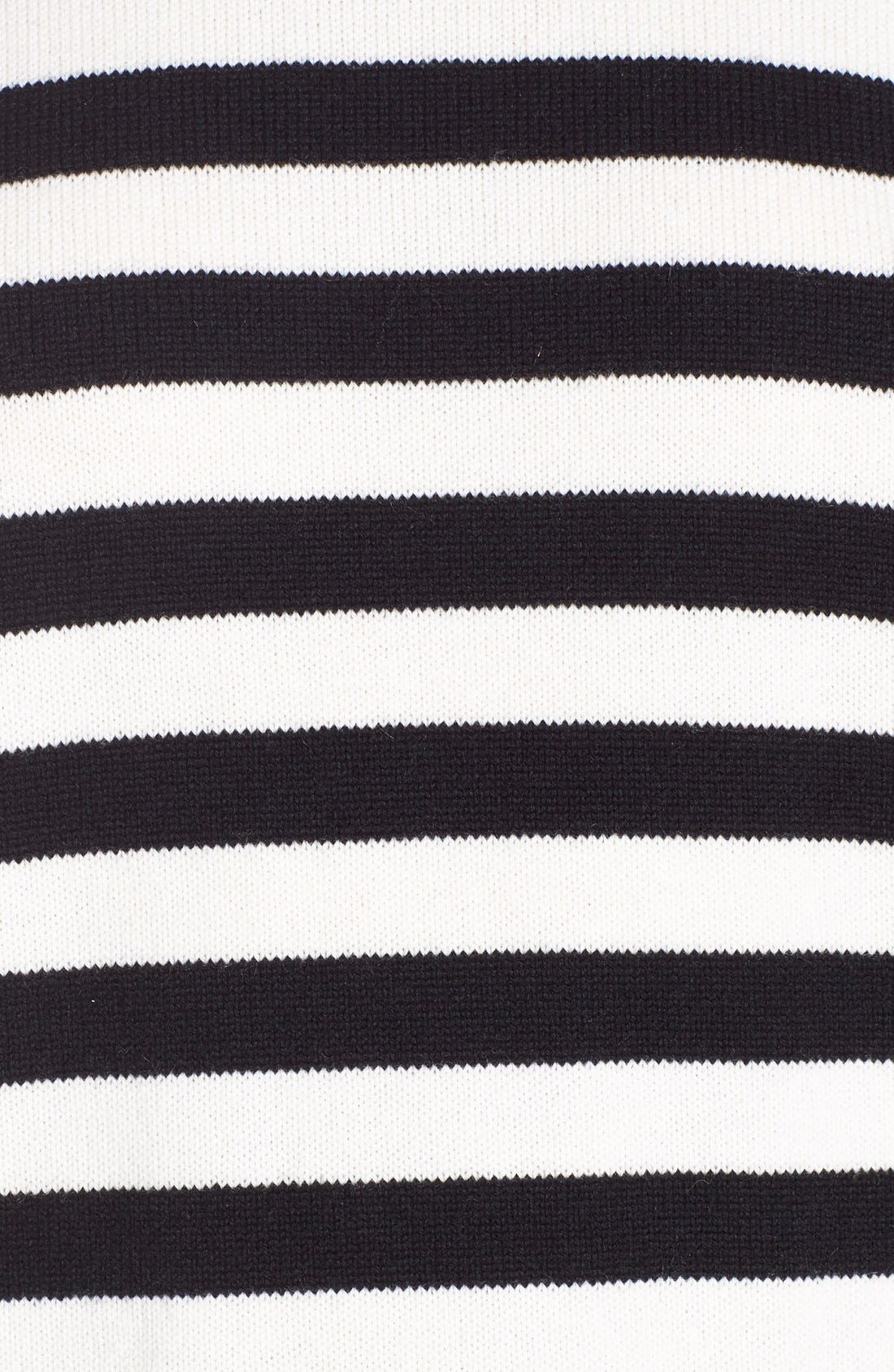 Stripe Cashmere Sweater,                             Alternate thumbnail 3, color,                             BLACK CREME