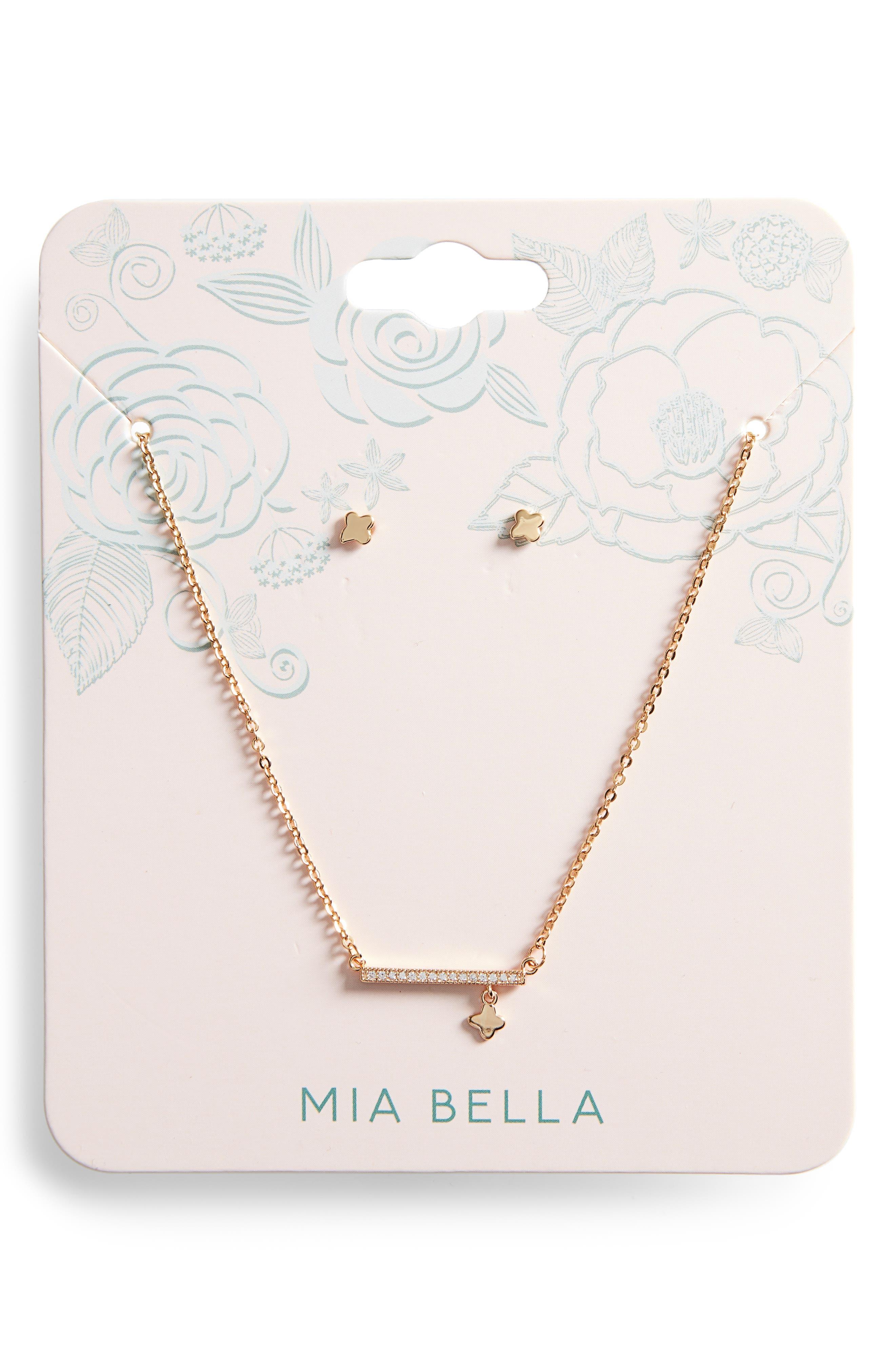 Girls Mia Bella Bar Necklace  Earrings Set