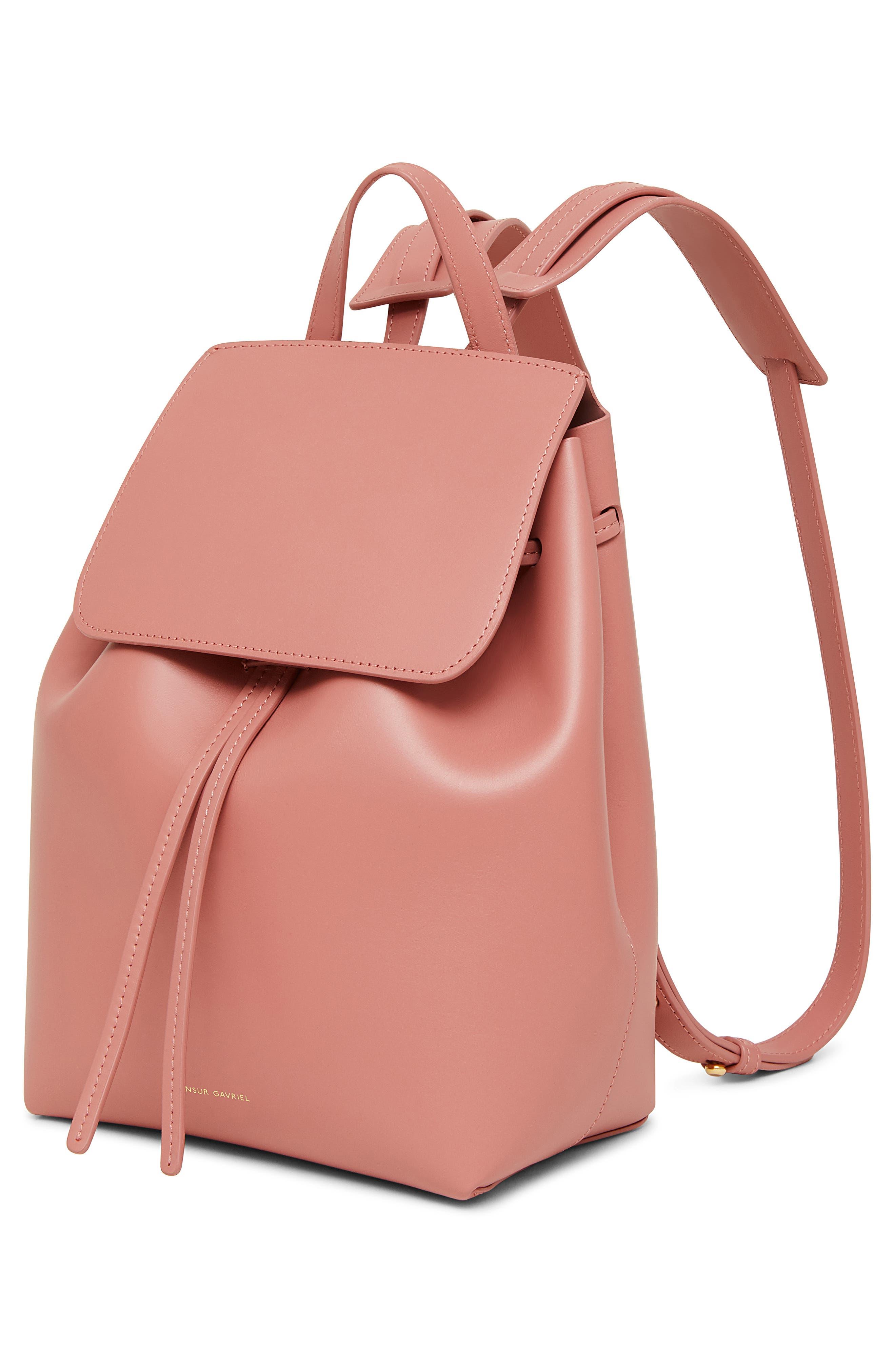 Mini Leather Backpack,                             Alternate thumbnail 3, color,                             BLUSH