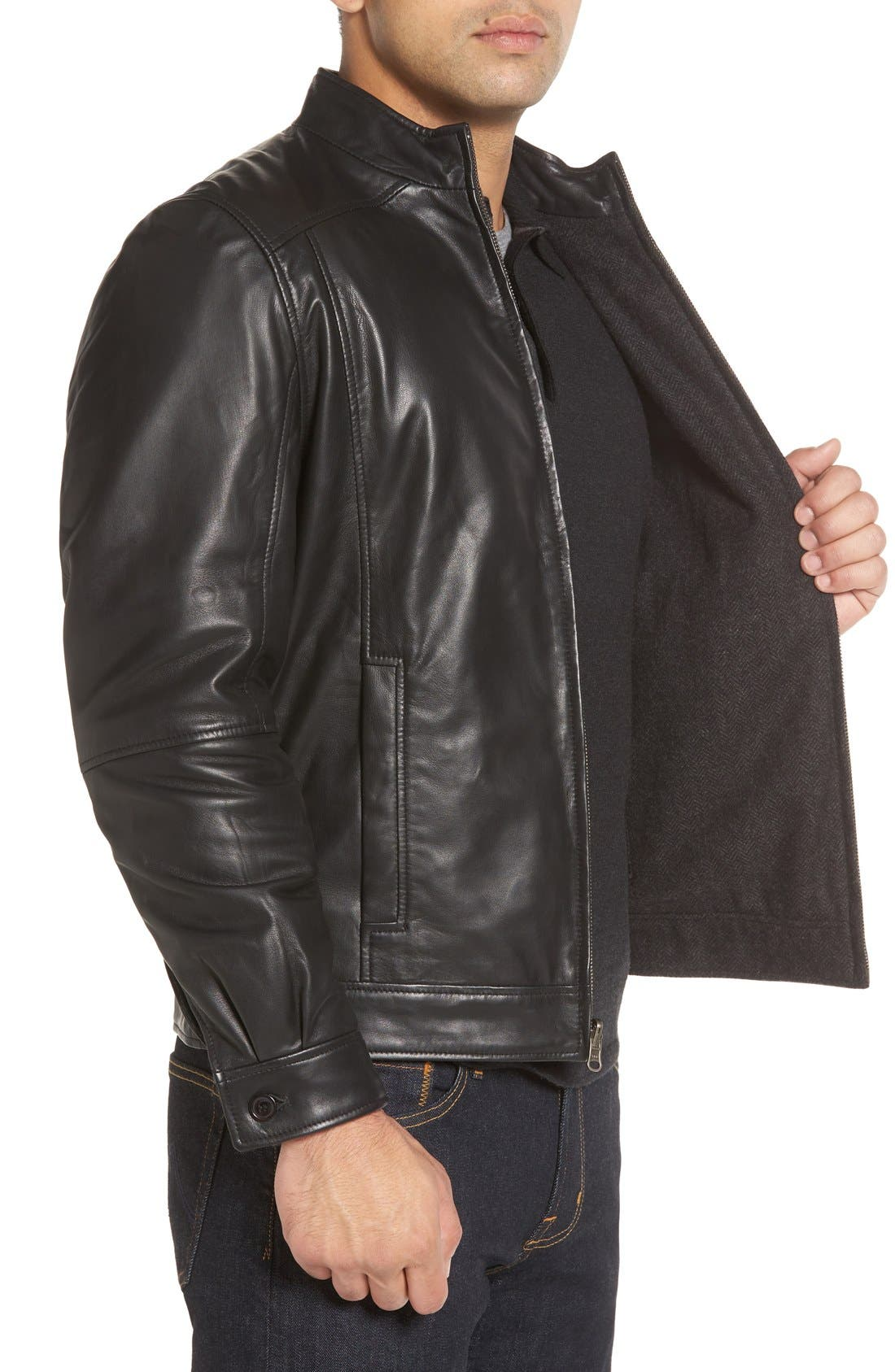 Leather & Wool Reversible Jacket,                             Alternate thumbnail 3, color,                             001