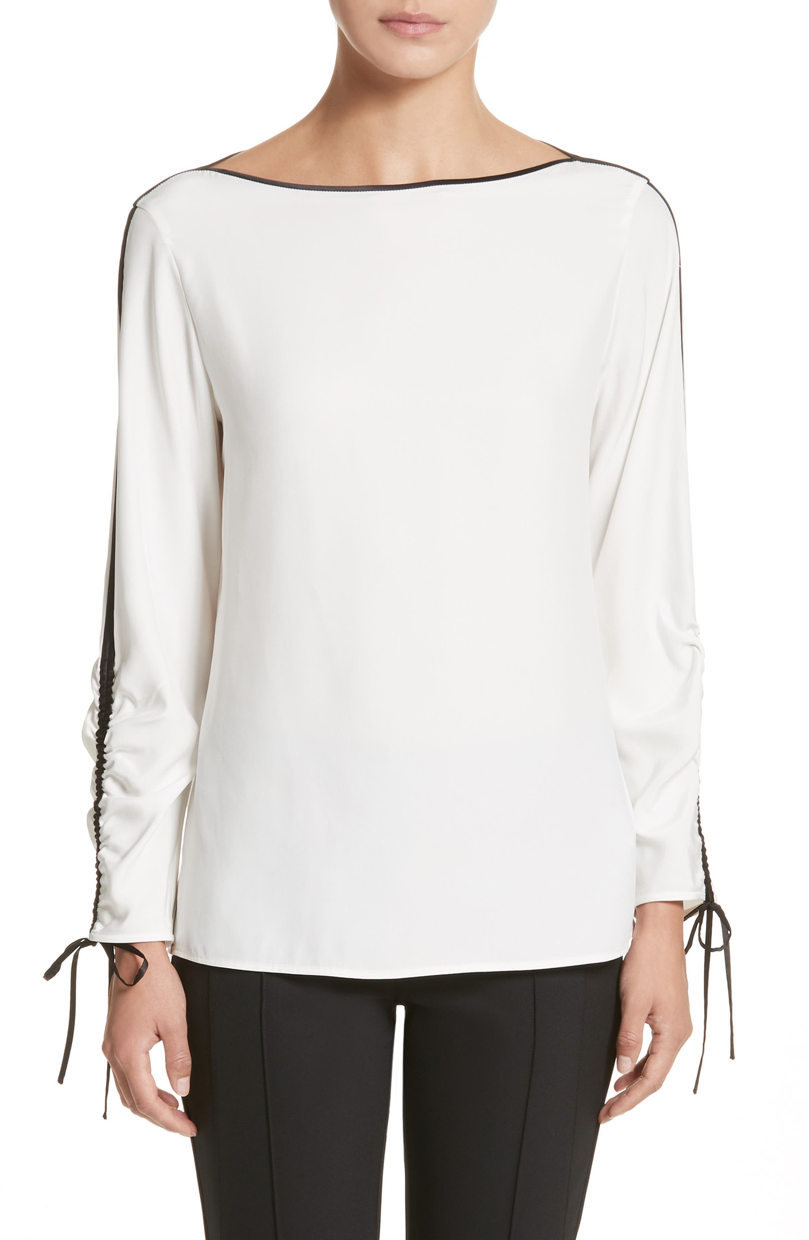 Georgina Matte Silk Blouse,                             Main thumbnail 1, color,                             141