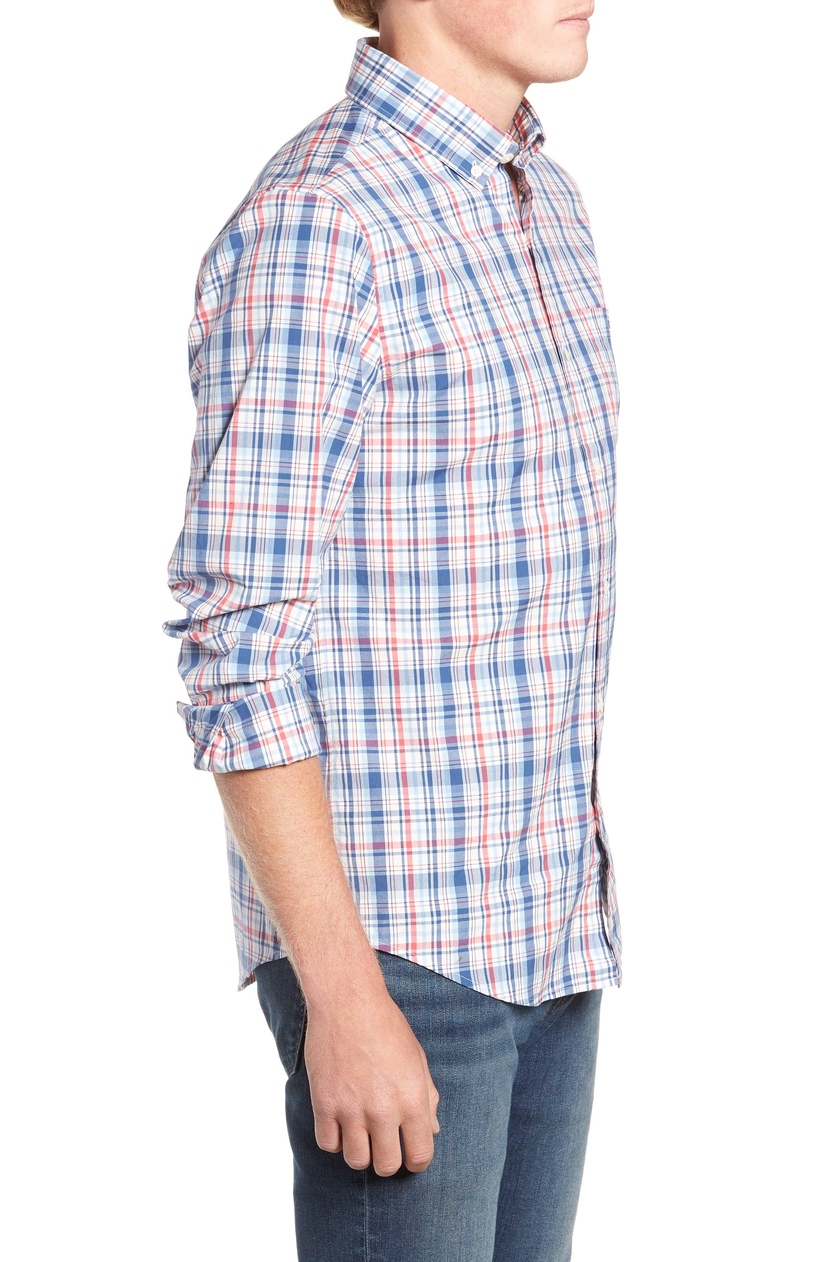 Duke's County Slim Fit Plaid Shirt,                             Alternate thumbnail 4, color,                             MOONSHINE