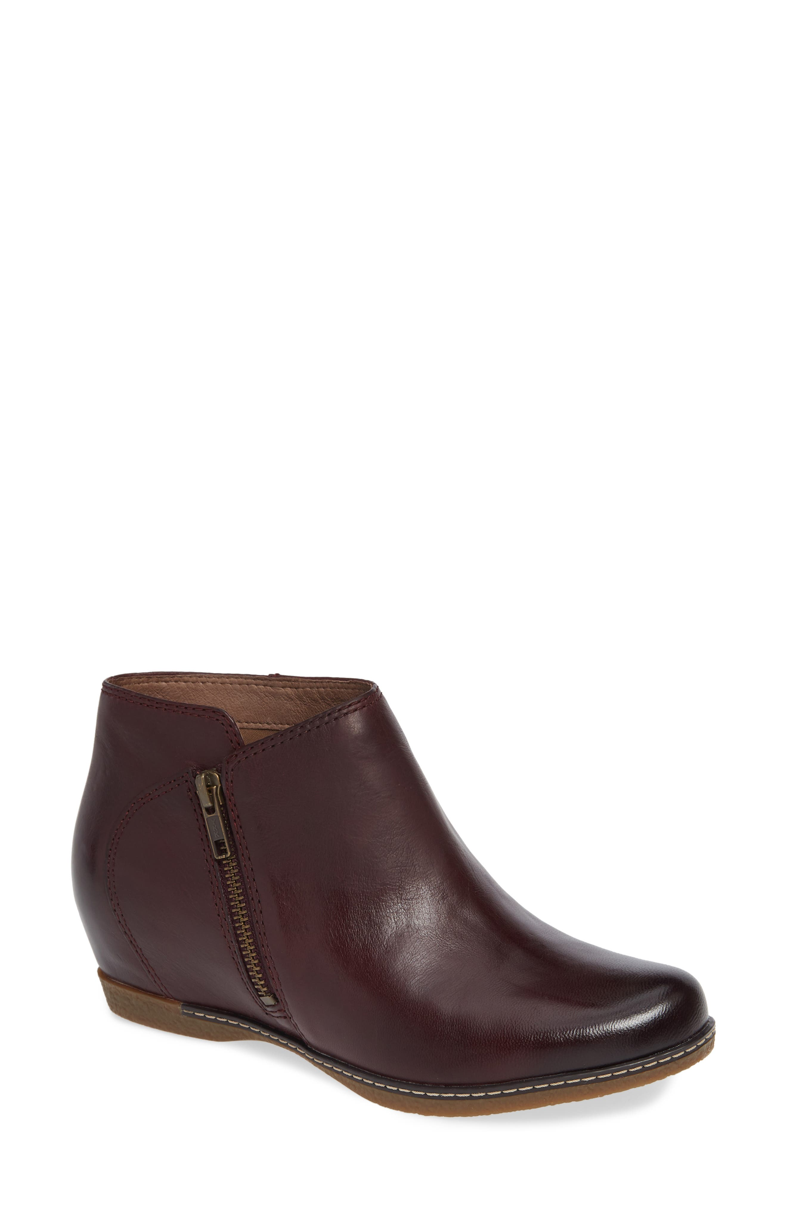 Leyla Bootie,                             Main thumbnail 1, color,                             WINE BURNISHED LEATHER