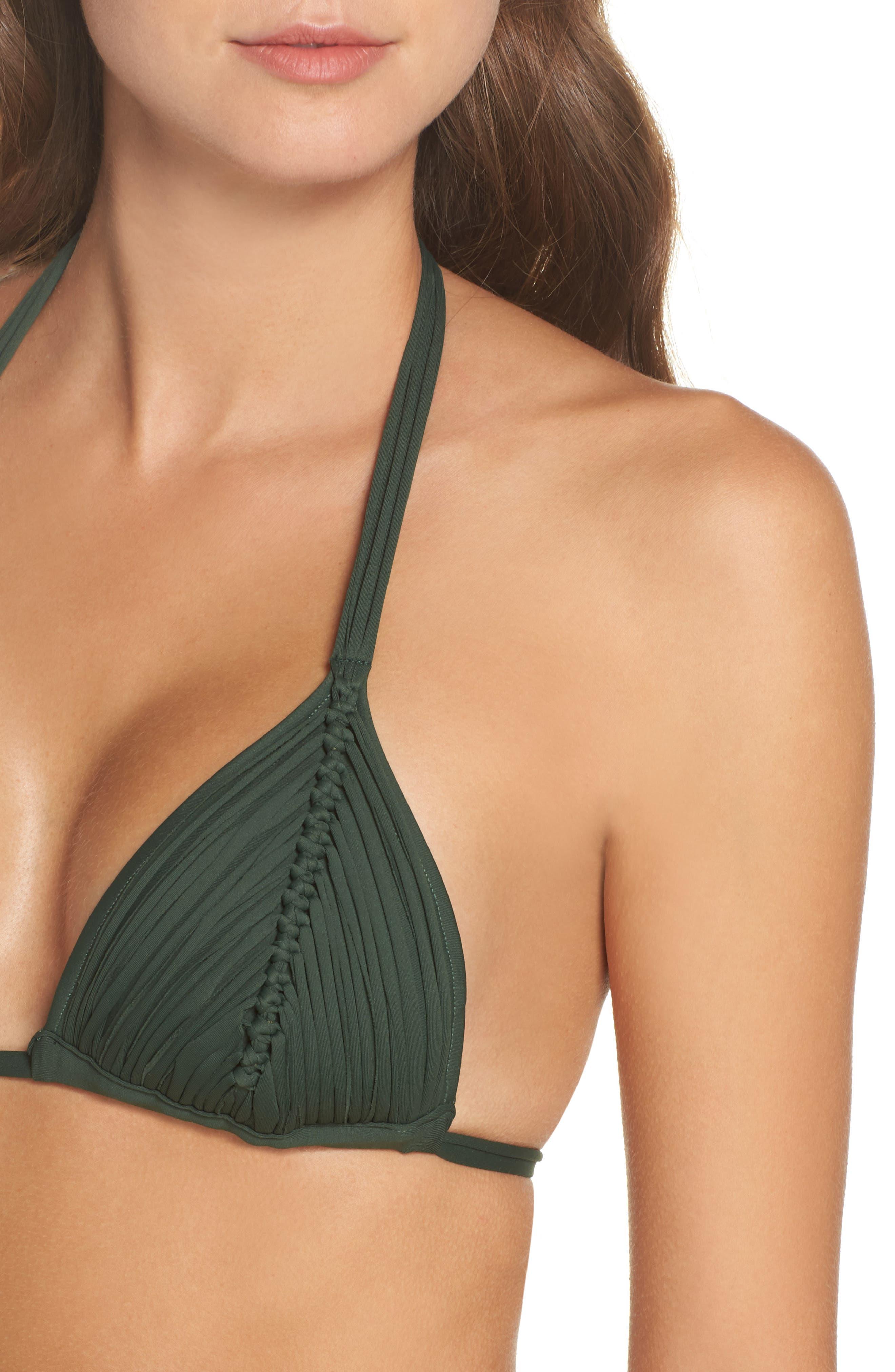 Isla Macramé Bikini Top,                             Alternate thumbnail 4, color,                             ARMY