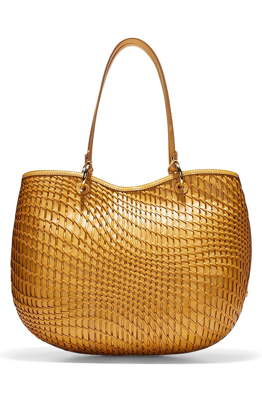 'Genevieve - Small' Open Weave Leather Tote,                             Alternate thumbnail 4, color,                             200