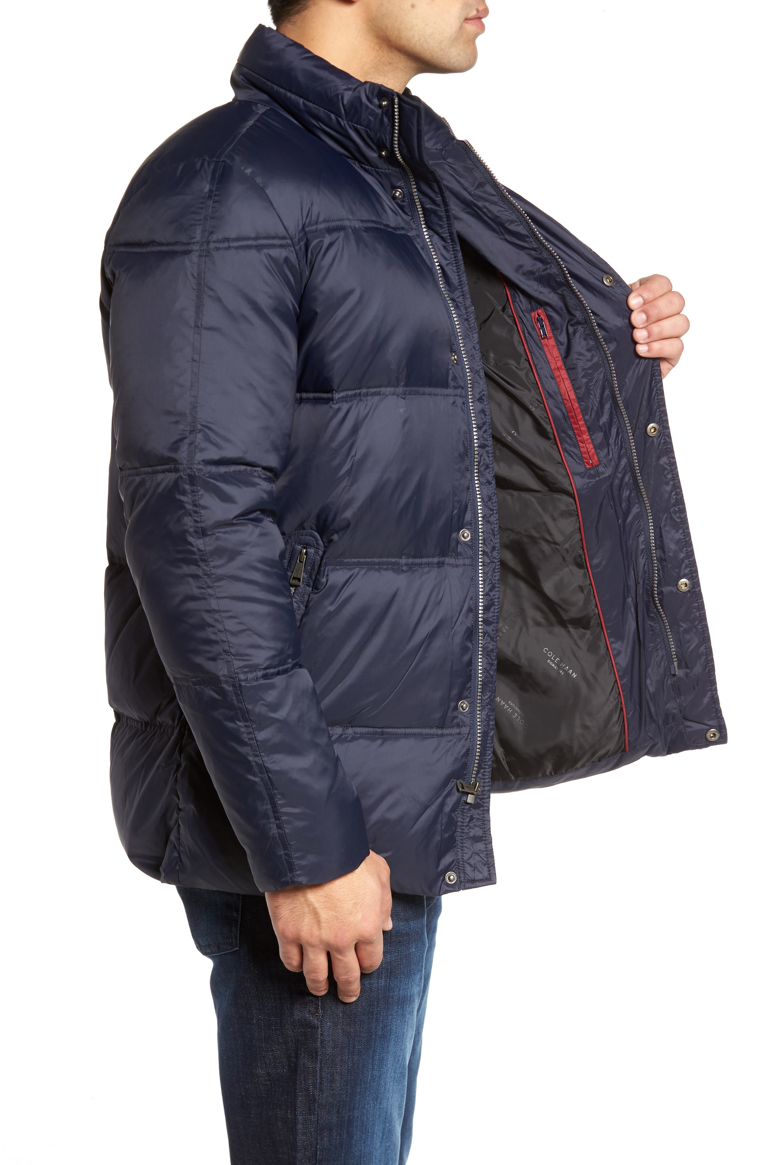 Quilted Jacket with Convertible Neck Pillow,                             Alternate thumbnail 3, color,                             NAVY