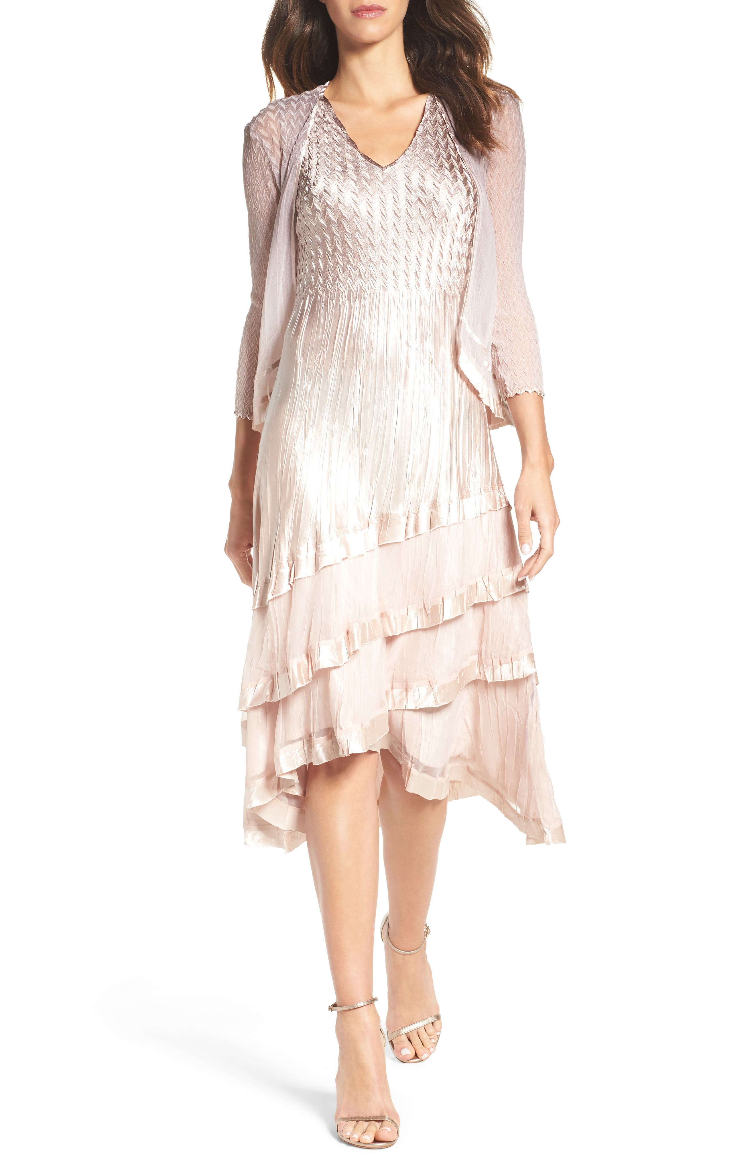 Tiered Dress with Jacket,                             Main thumbnail 1, color,                             253