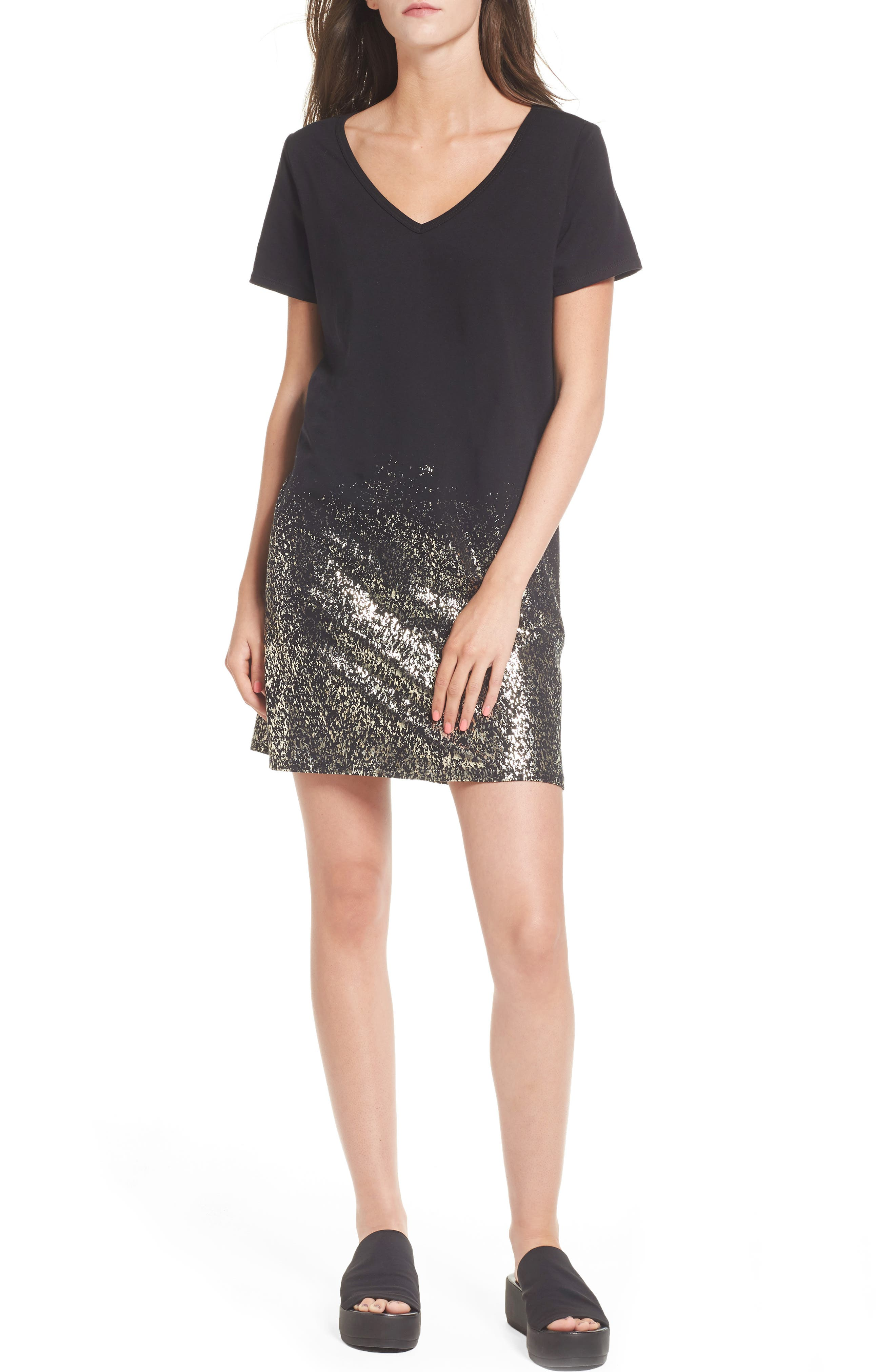 Foil Detail T-Shirt Dress,                             Main thumbnail 1, color,