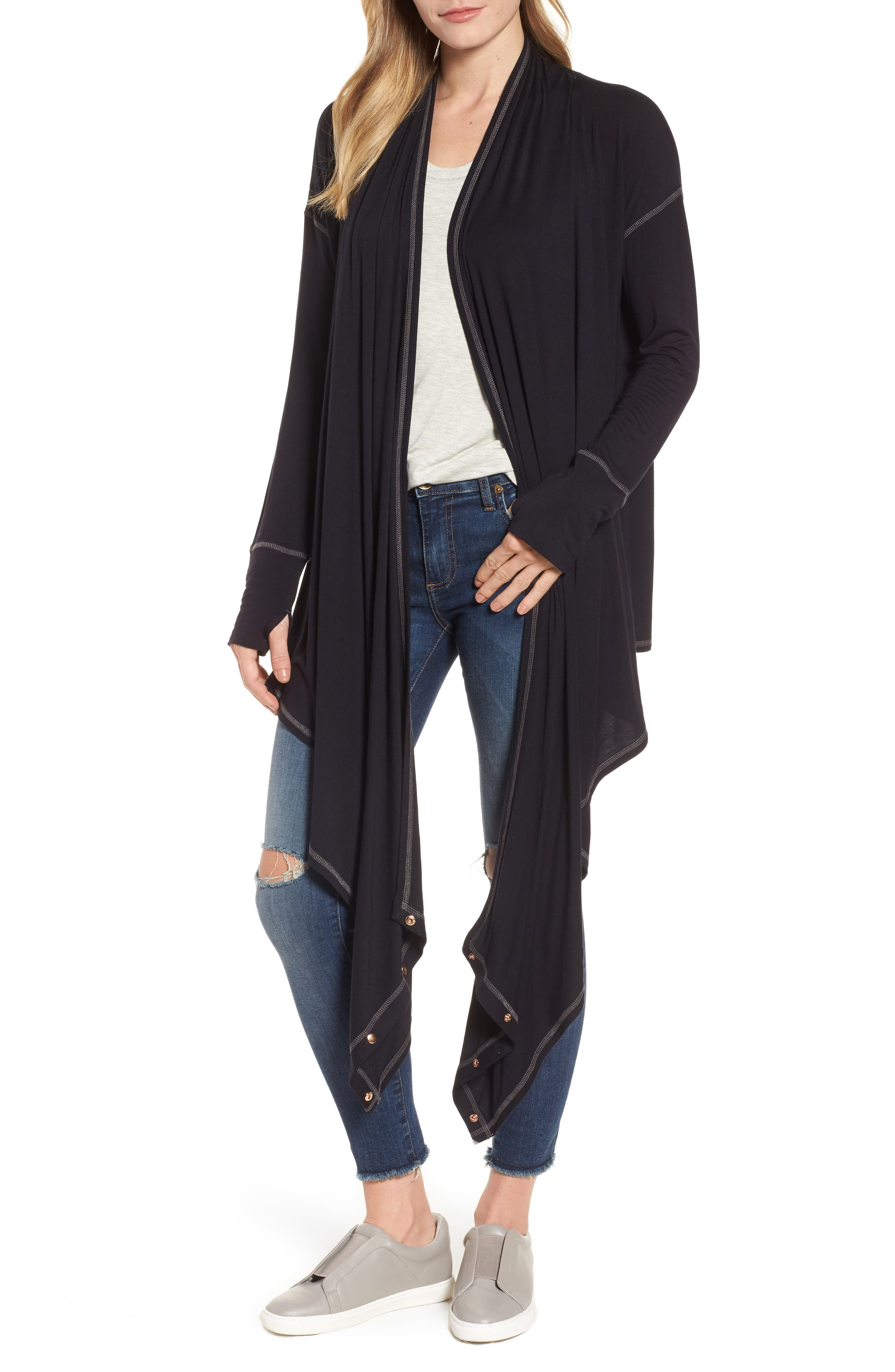 Off-Duty Long Convertible Cardigan,                             Alternate thumbnail 5, color,                             001