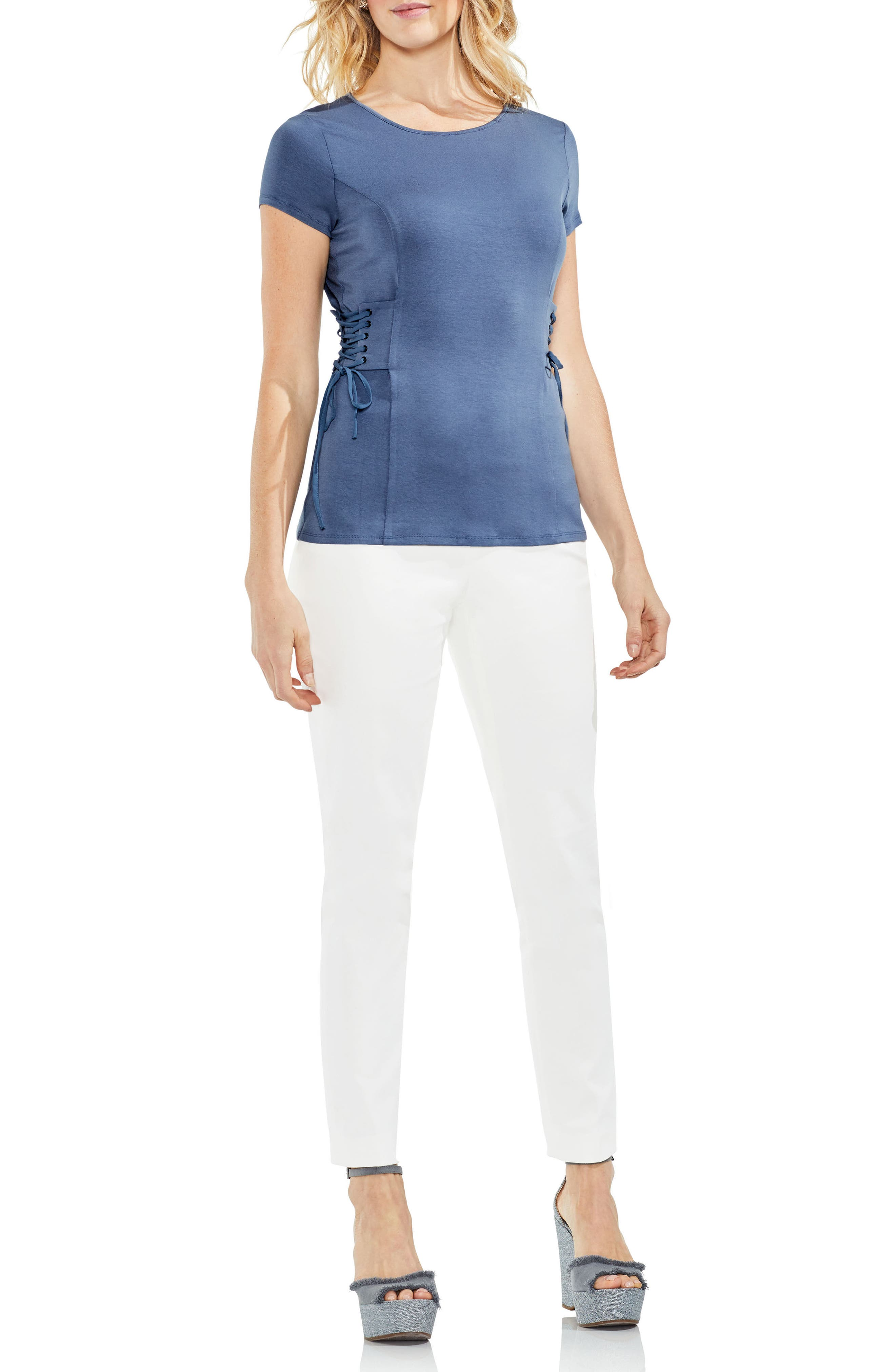 Side Lace-Up Top,                             Alternate thumbnail 4, color,                             006
