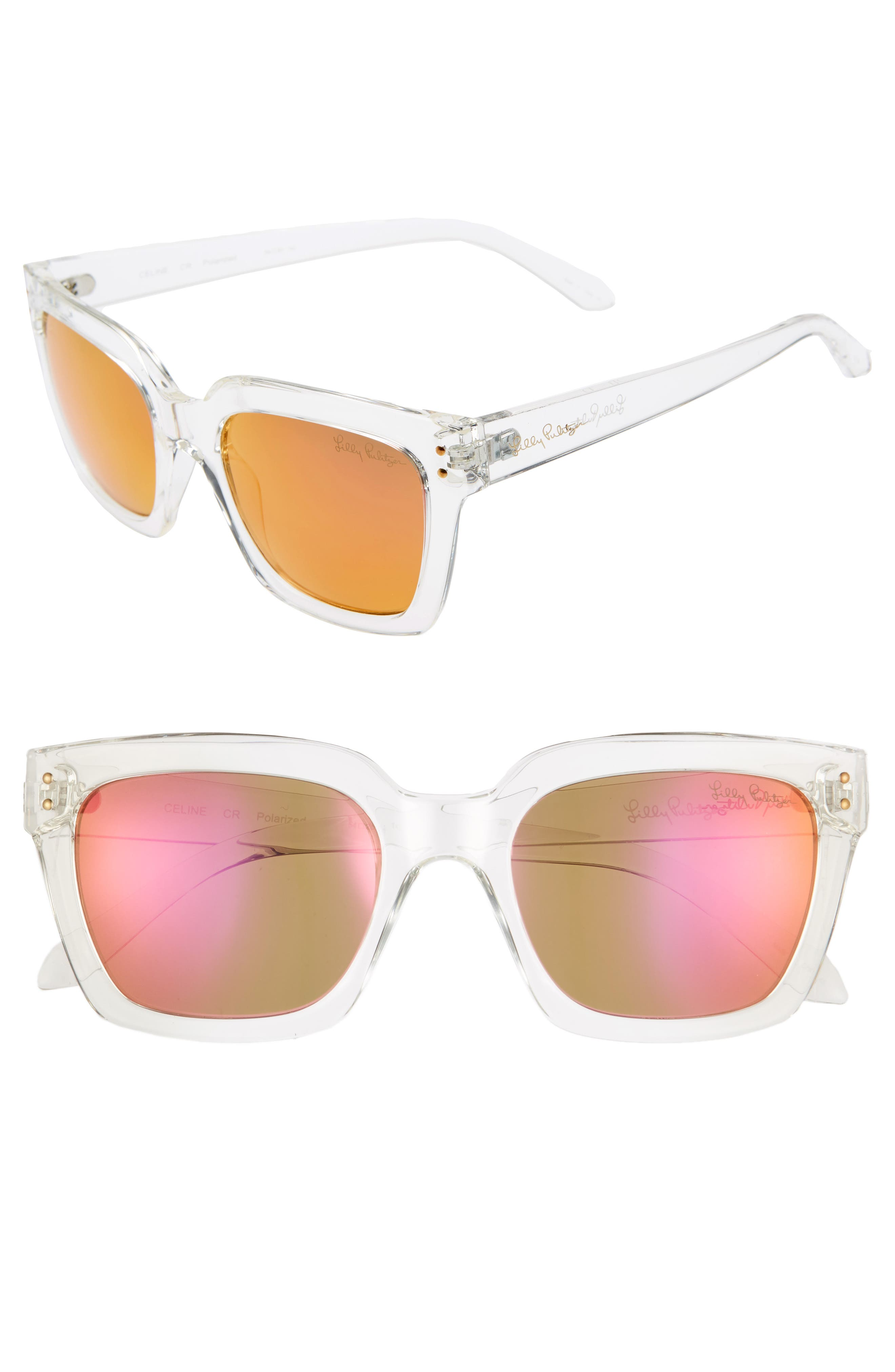 LILLY PULITZER<SUP>®</SUP>,                             Lilly Pulitzer Celine 54mm Polarized Square Sunglasses,                             Main thumbnail 1, color,                             CRYSTAL CLEAR/ PINK MIRROR