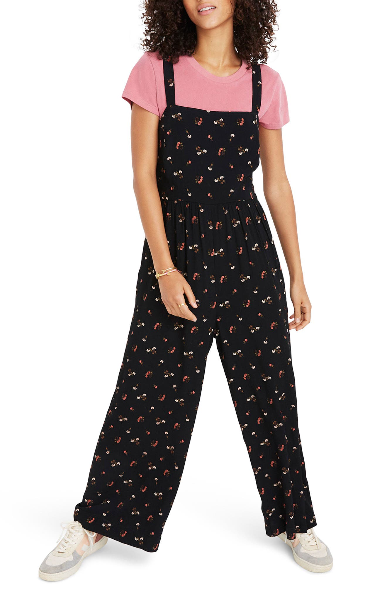 MADEWELL Flower Toss Smocked Crop Jumpsuit, Main, color, 009