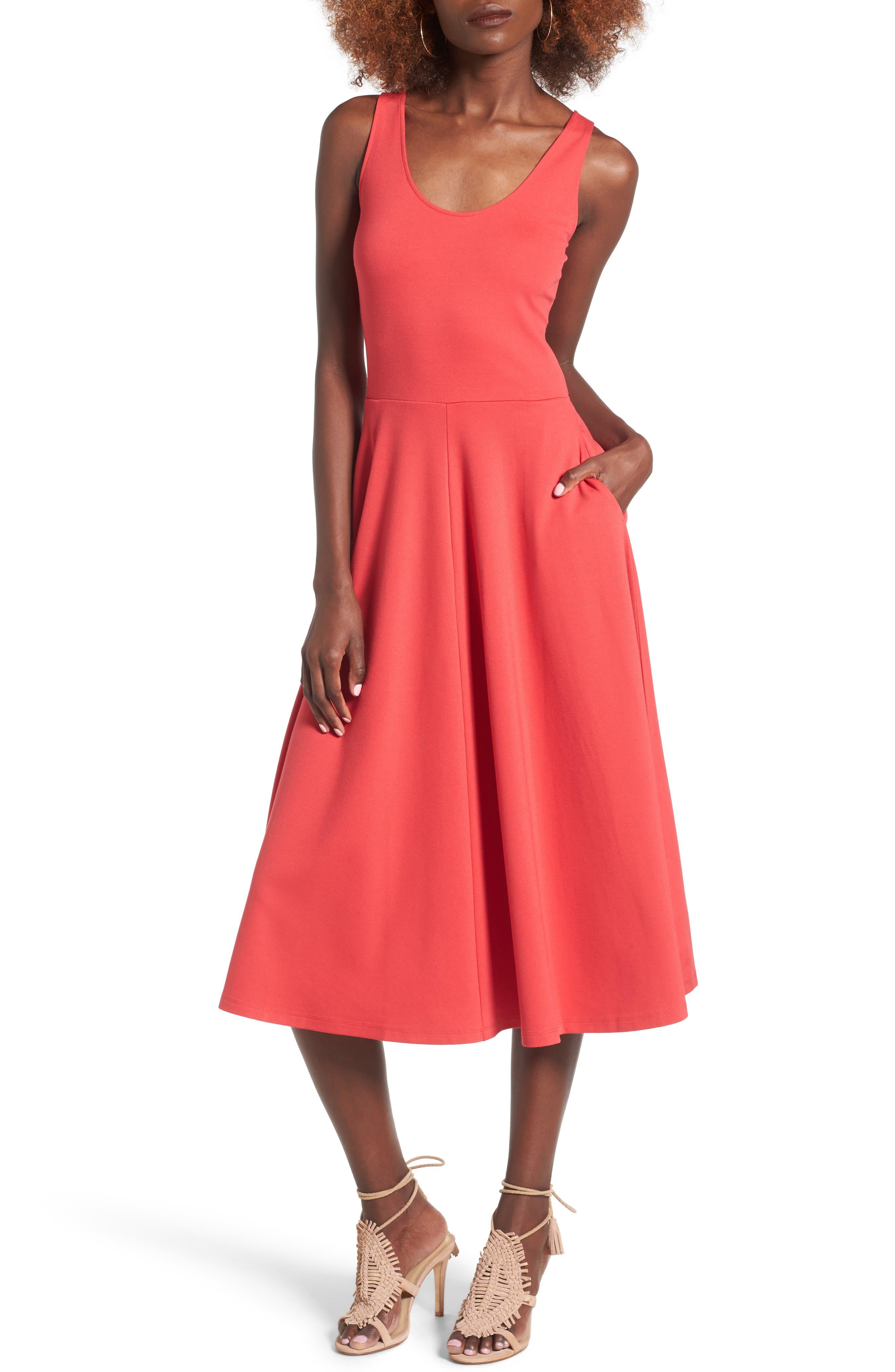 Stretch Knit Midi Dress,                             Main thumbnail 9, color,