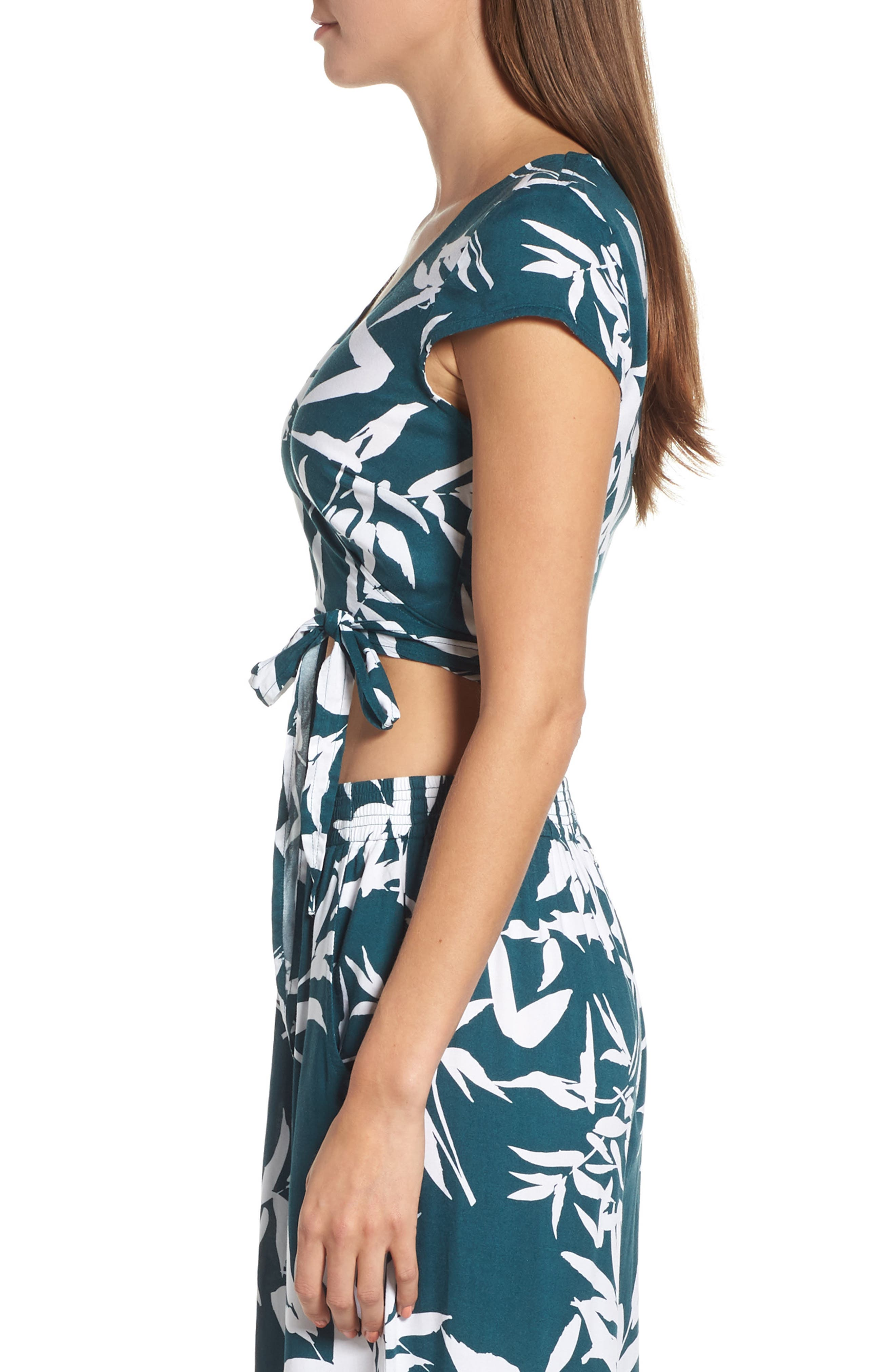 Calico Leaf Print Wrap Top,                             Alternate thumbnail 3, color,                             300