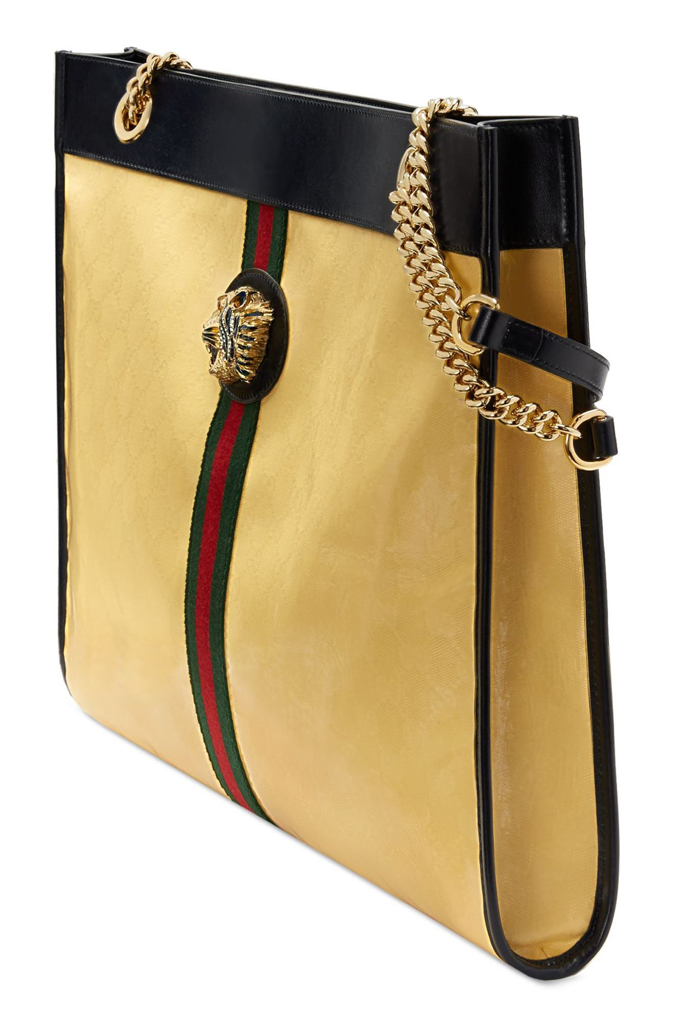 Rajah GG Supreme Canvas Tote,                             Alternate thumbnail 4, color,                             YELLOW/ BLACK/ BLUE/ RED