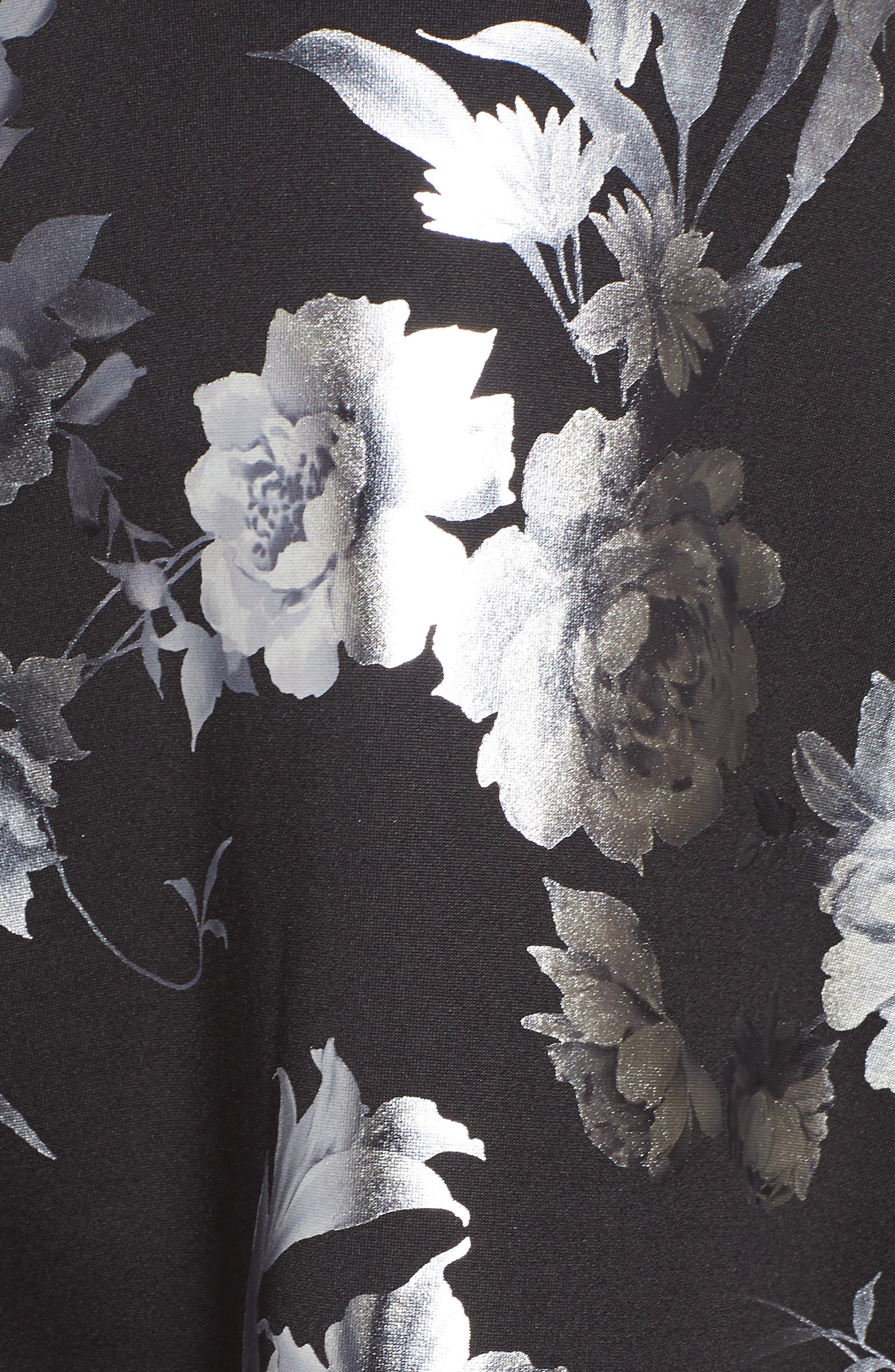 Off the Shoulder Foil Scuba Fit & Flare Dress,                             Alternate thumbnail 6, color,                             BLACK/ SILVER