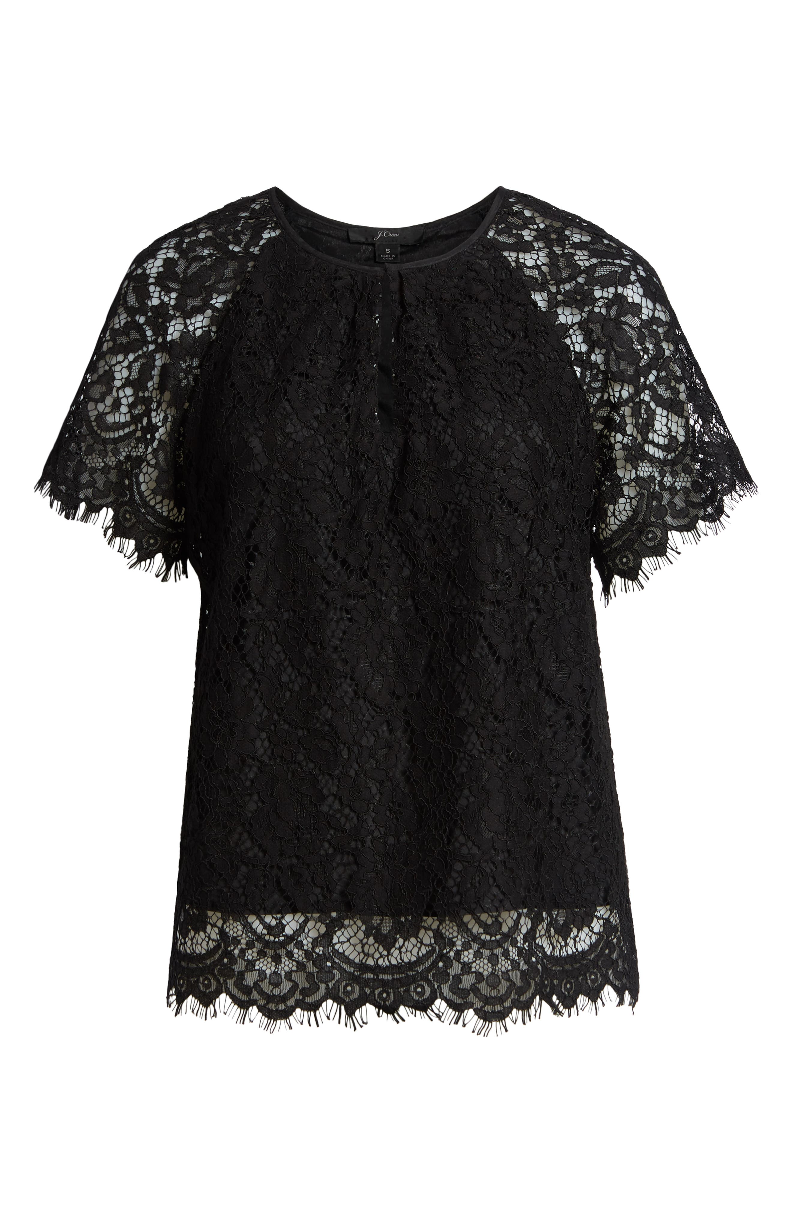 J.CREW,                             Short Sleeve Lace Top,                             Alternate thumbnail 6, color,                             001