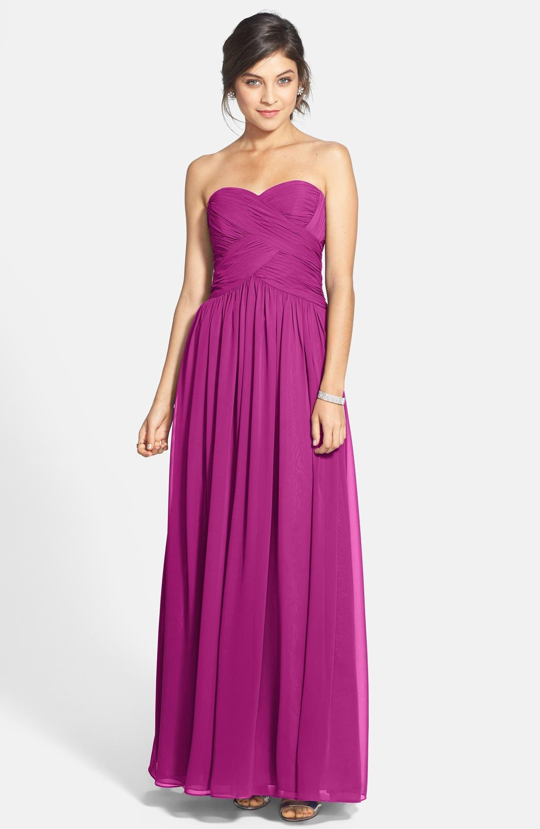 Strapless Ruched Chiffon Gown,                             Main thumbnail 5, color,