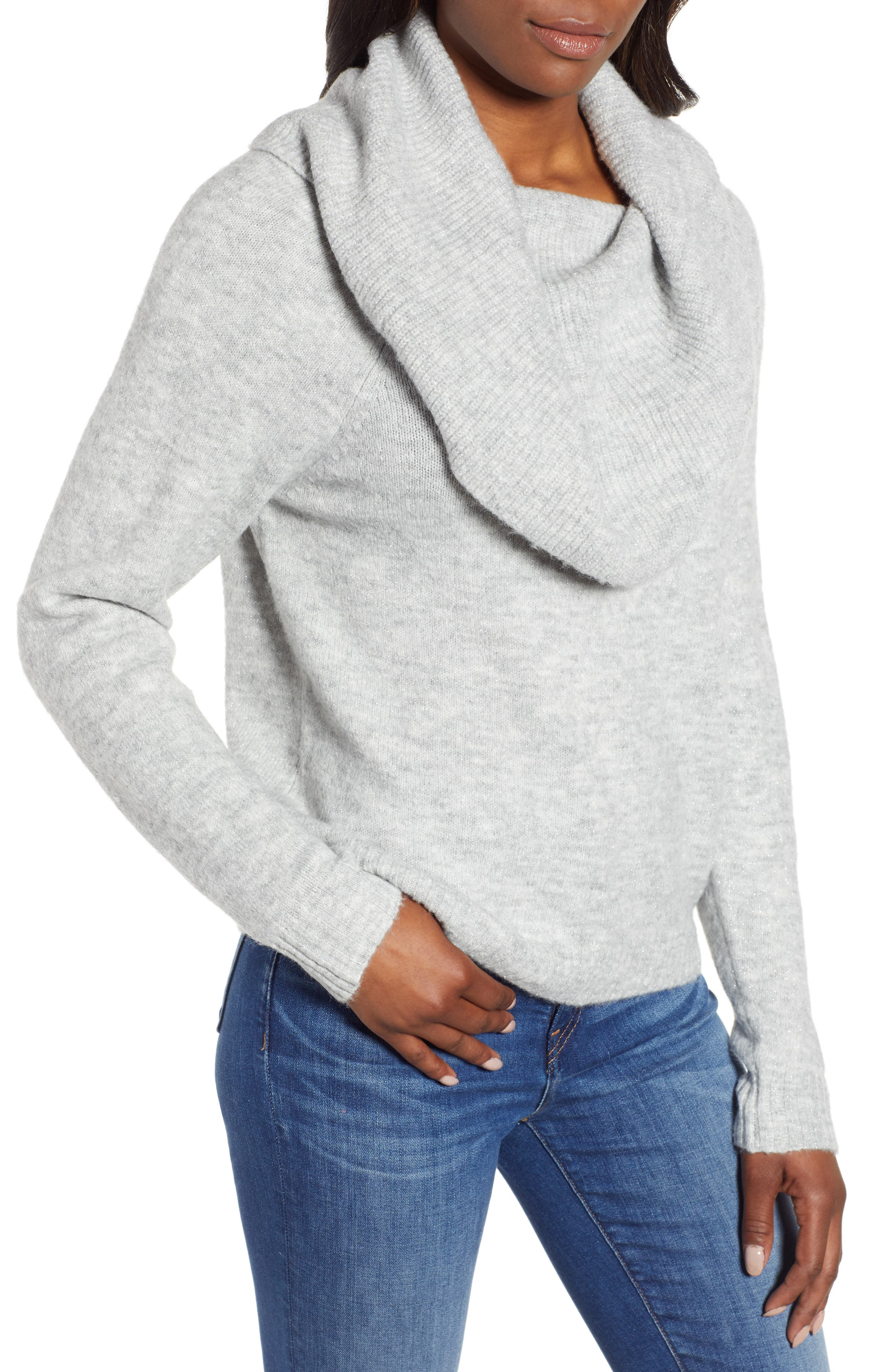 Convertible Cowl Neck Sweater,                             Alternate thumbnail 2, color,                             GREY HEATHER