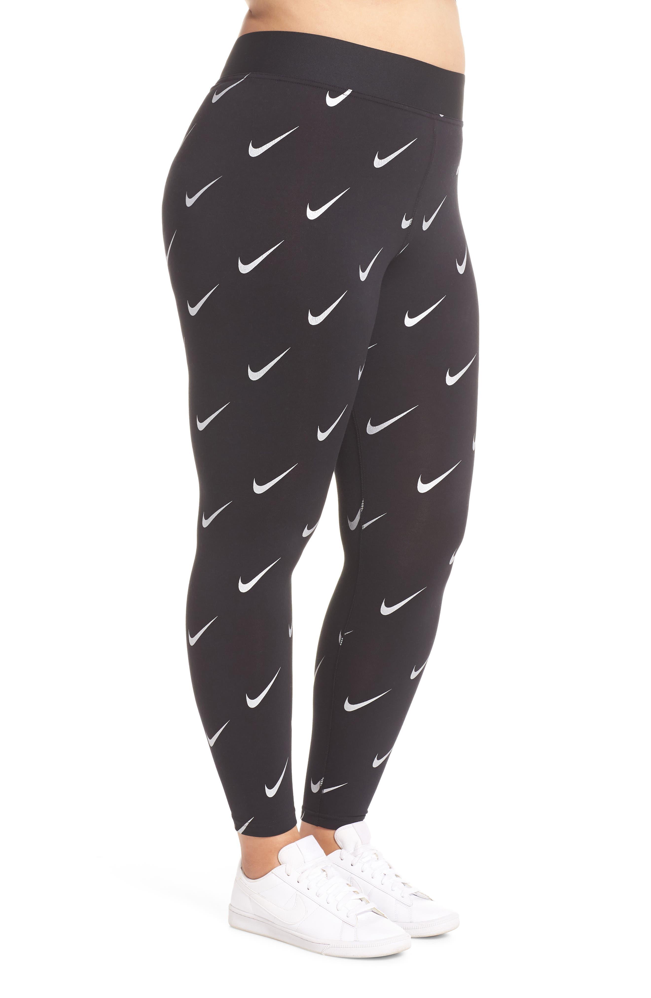 Sportswear Leg-A-See High Rise Print Leggings,                             Alternate thumbnail 3, color,                             BLACK
