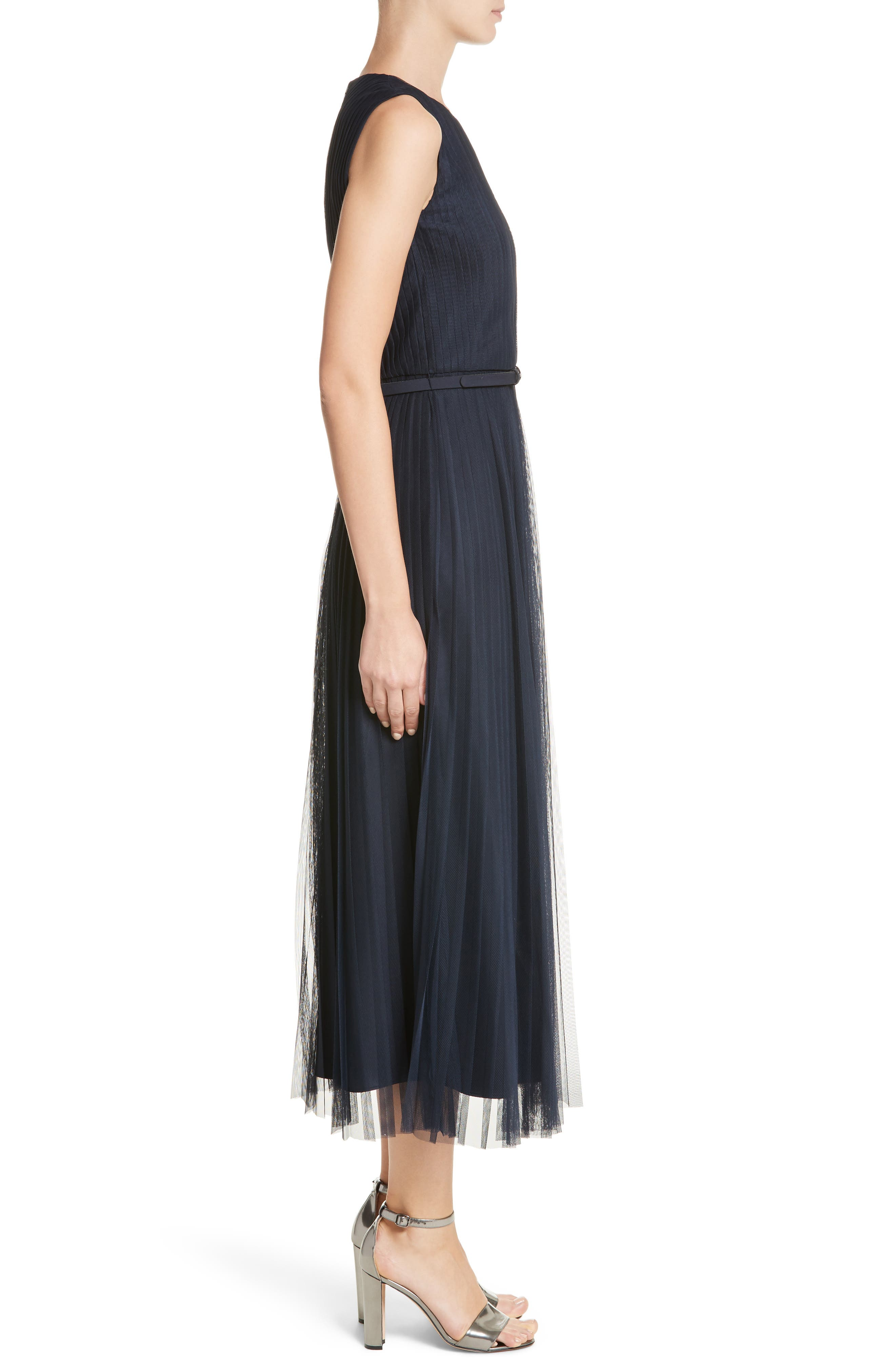 Pleated Mesh Dress,                             Alternate thumbnail 3, color,                             434