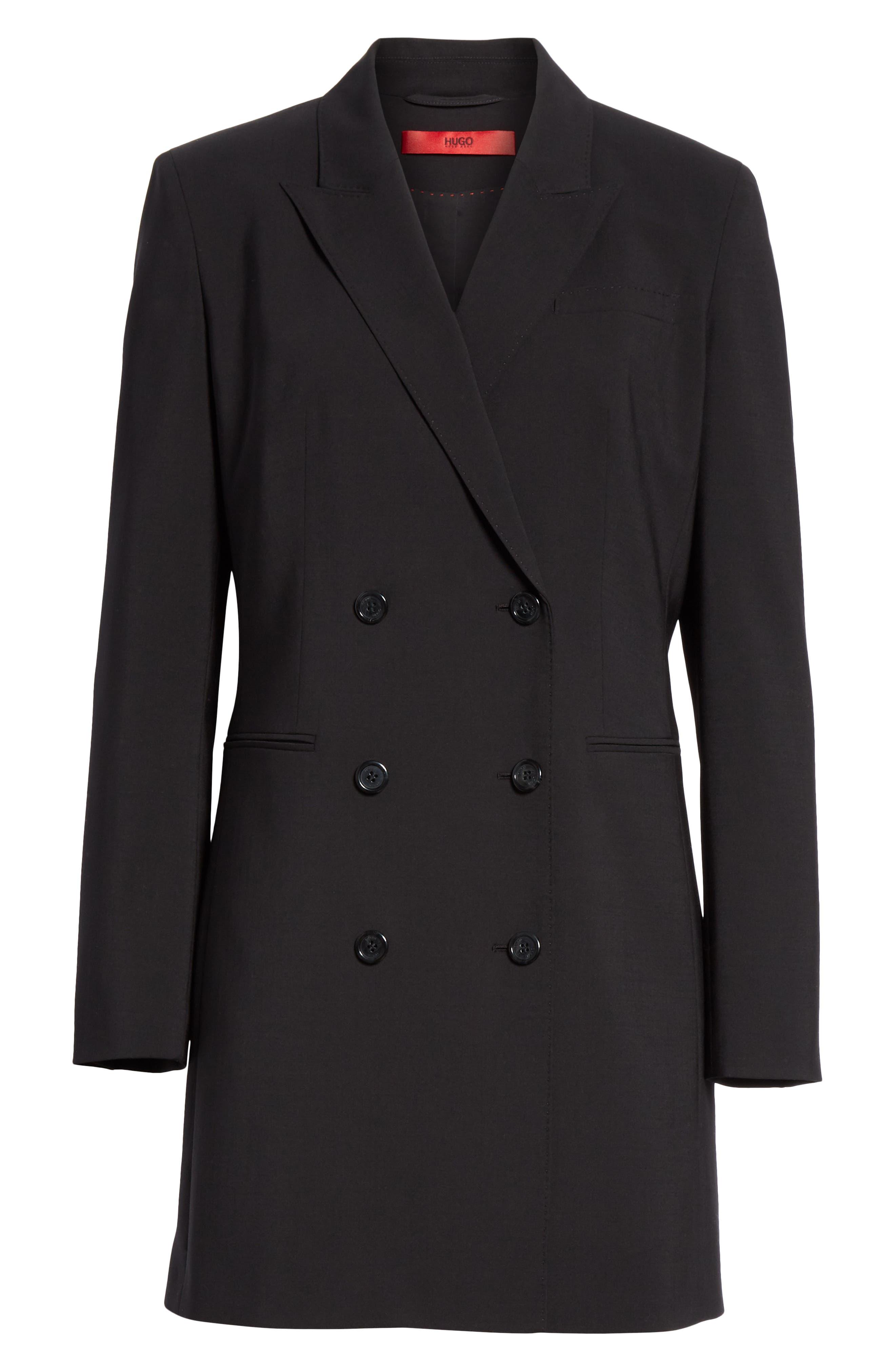 Akasa Blazer Dress,                             Alternate thumbnail 5, color,                             BLACK