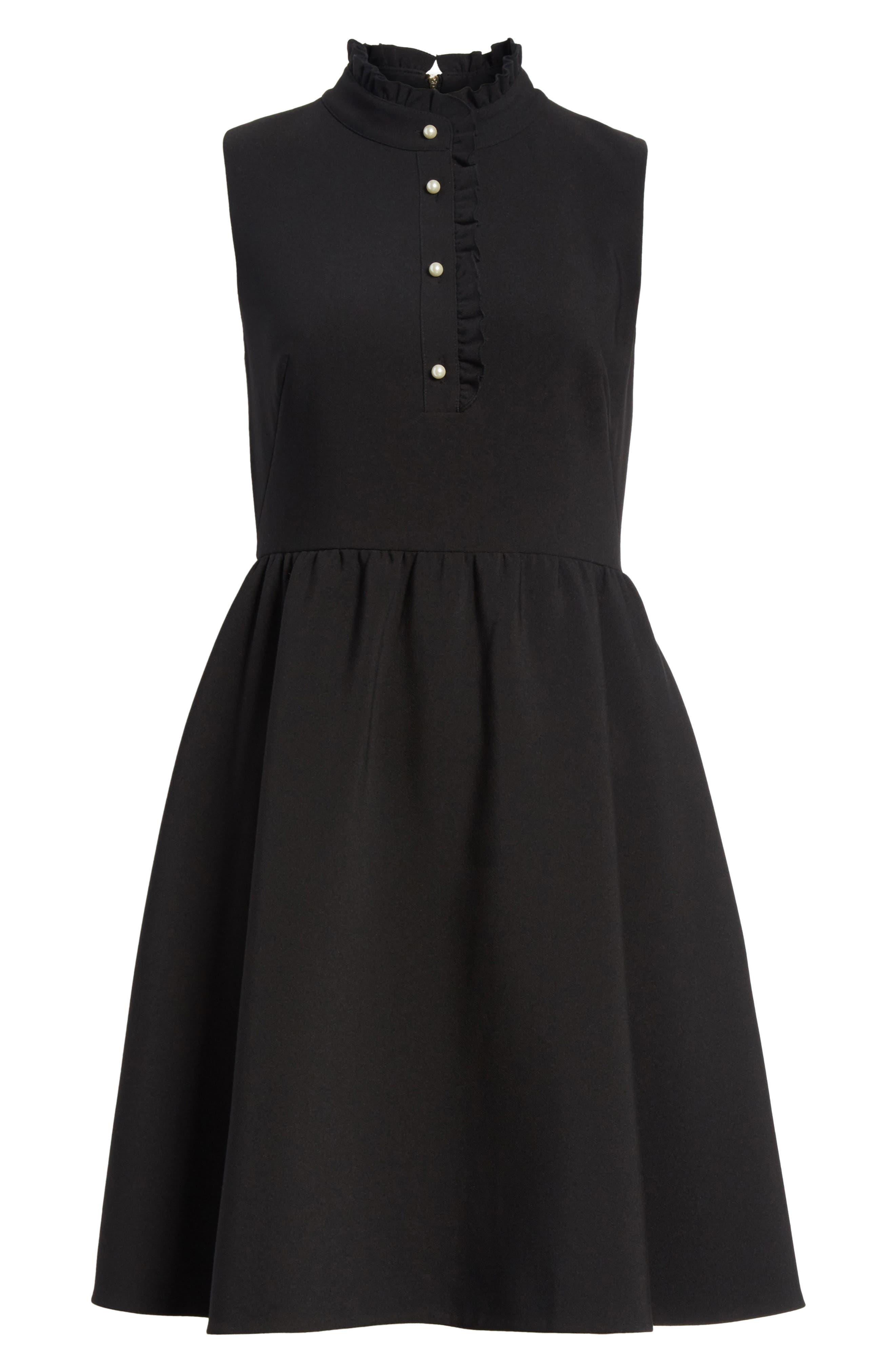 ruffle front crepe dress,                             Alternate thumbnail 6, color,                             001