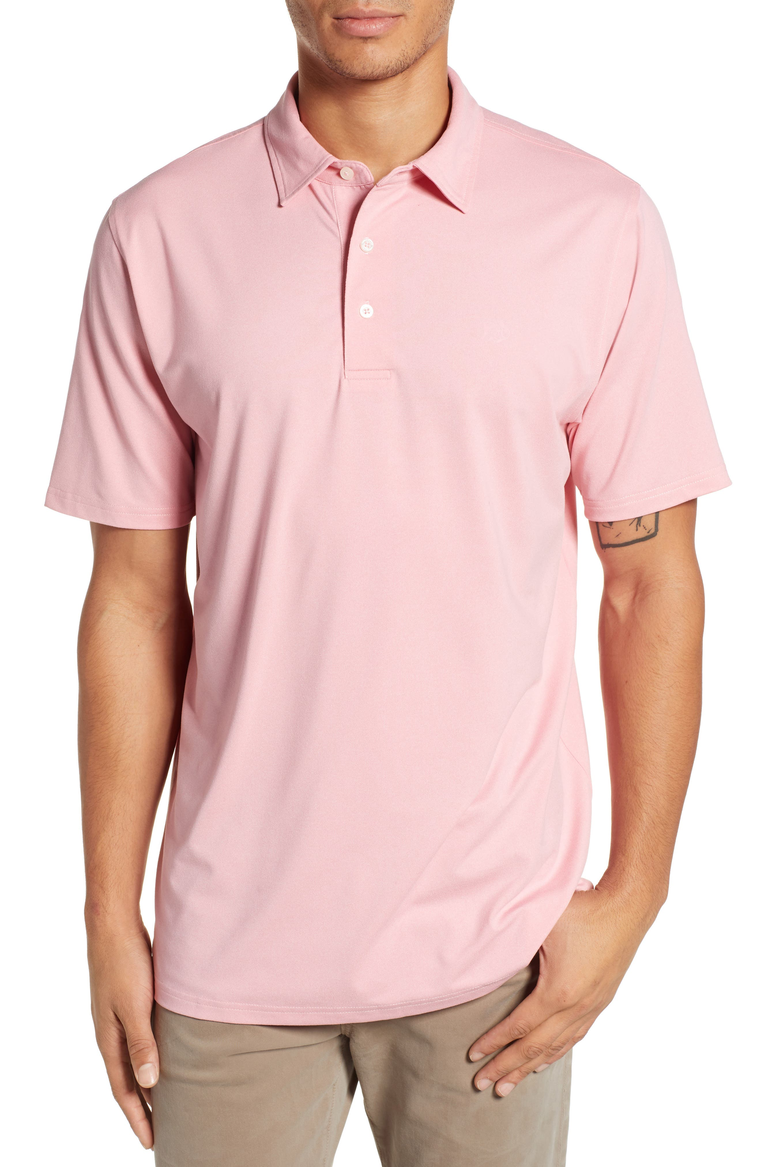 SOUTHERN TIDE Driver Performance Jersey Polo in Guava Pink