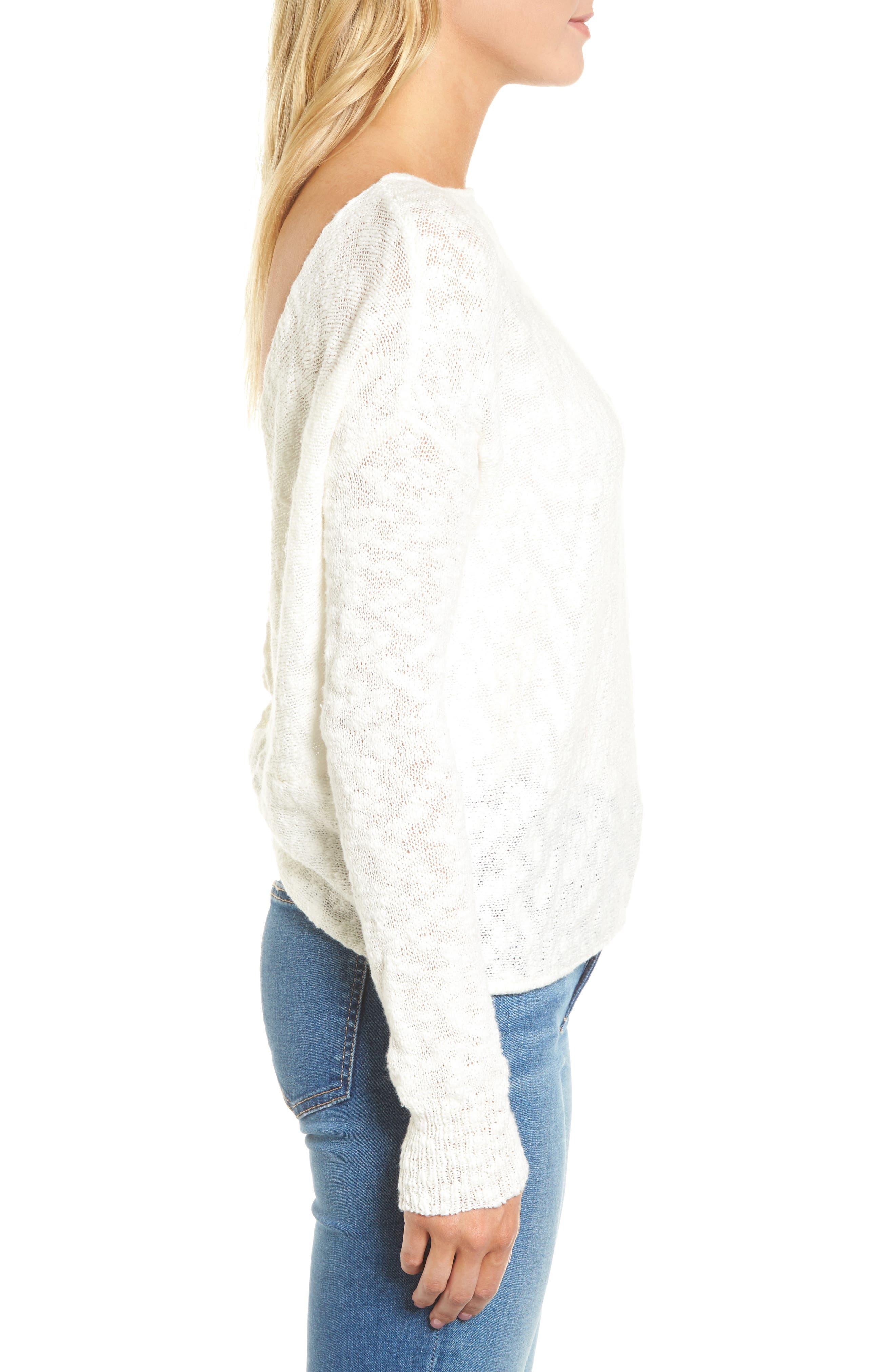 Textured Twist Back Sweater,                             Alternate thumbnail 3, color,