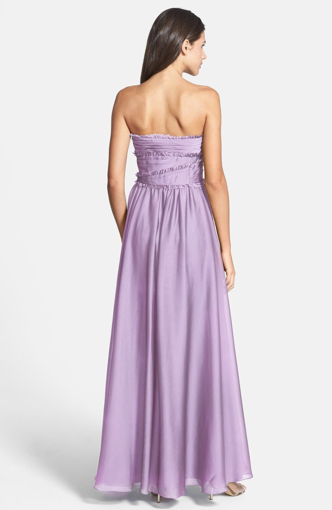 ML Monique Lhuillier Bridesmaids Strapless Chiffon Gown,                             Alternate thumbnail 42, color,