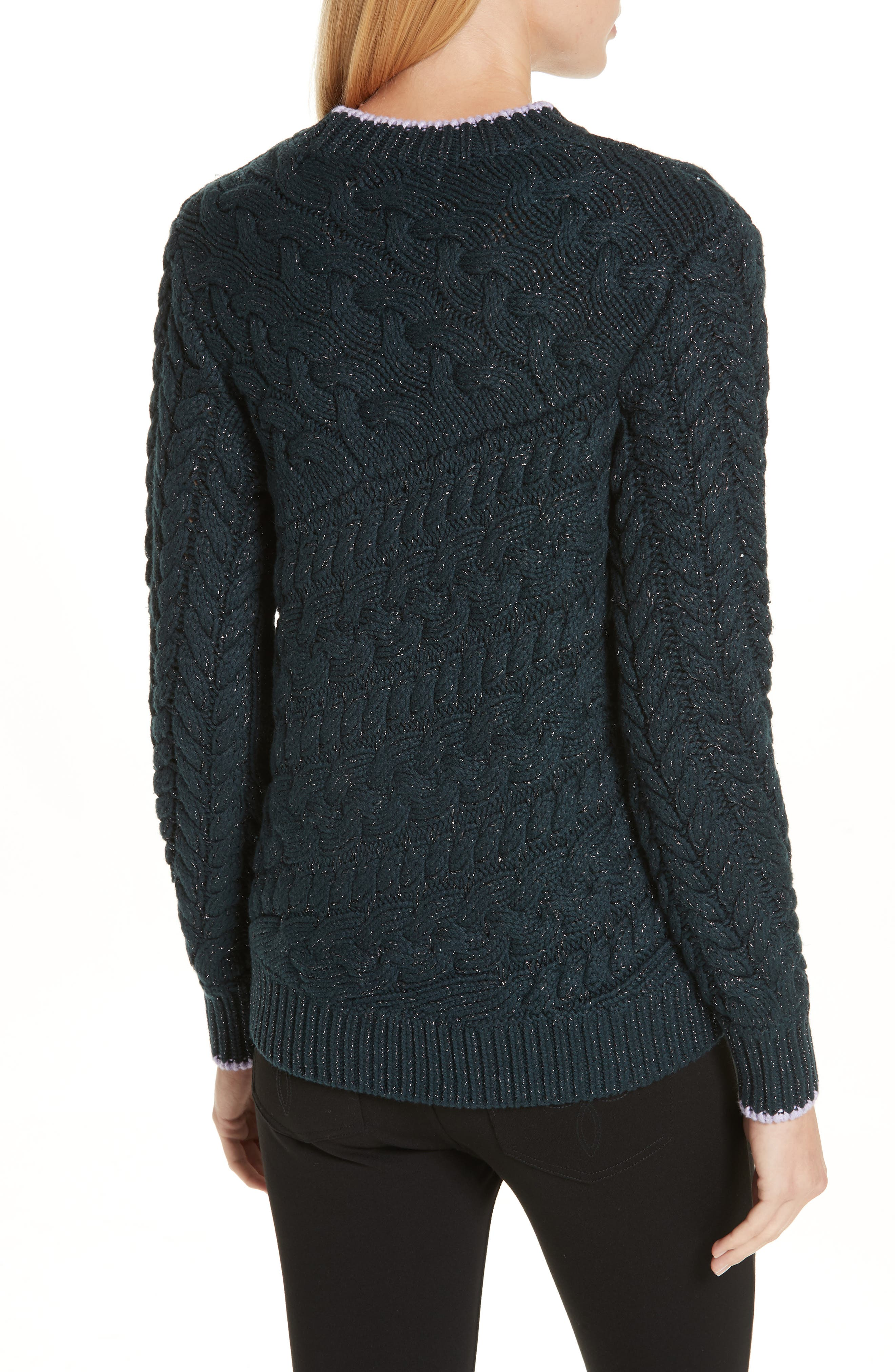 Colour by Numbers Charo Cable Knit Sweater,                             Alternate thumbnail 2, color,                             301
