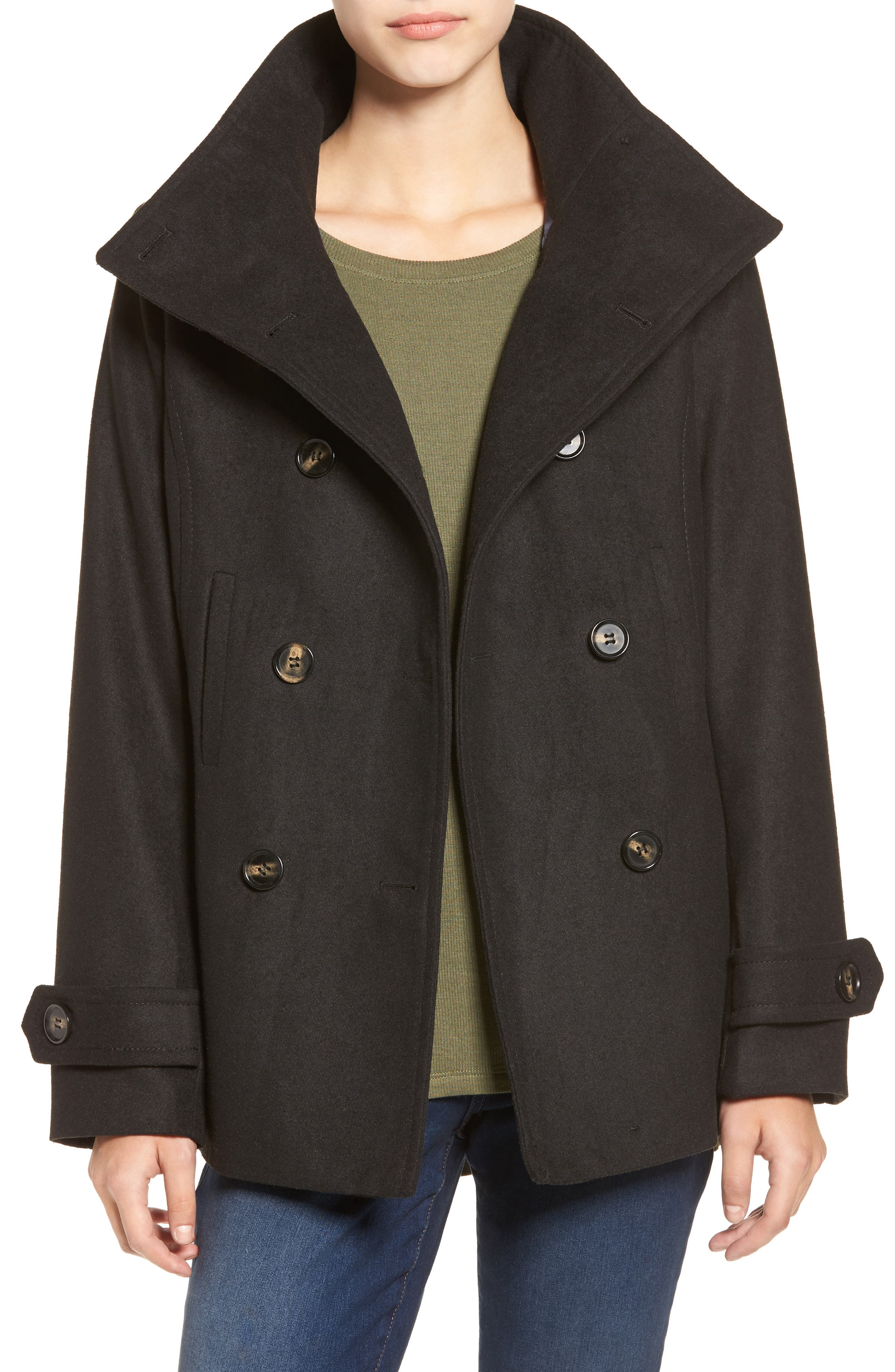 THREAD & SUPPLY Double Breasted Peacoat, Main, color, BLACK