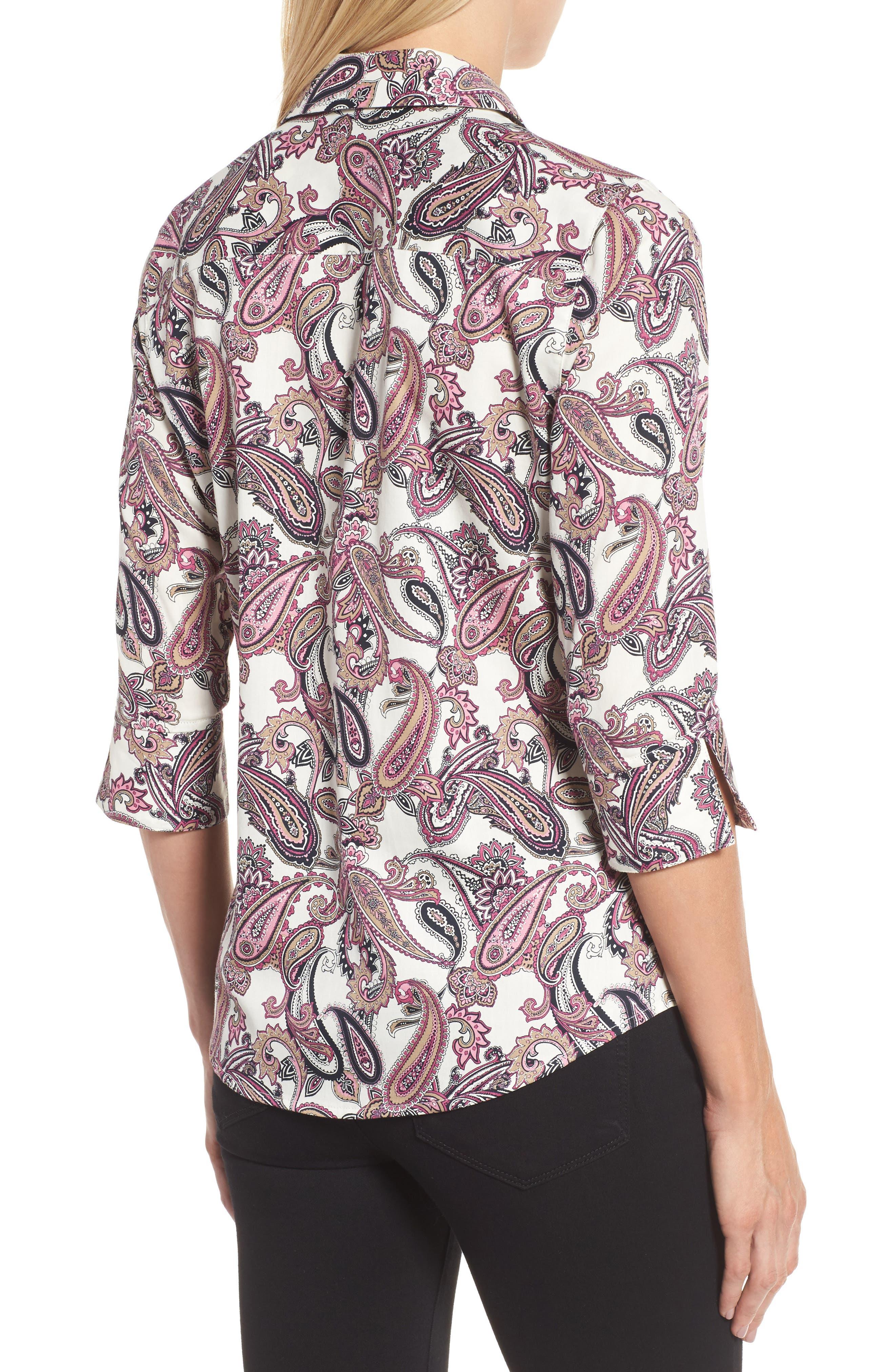 Mary Paisley Wrinkle Free Shirt,                             Alternate thumbnail 2, color,                             935