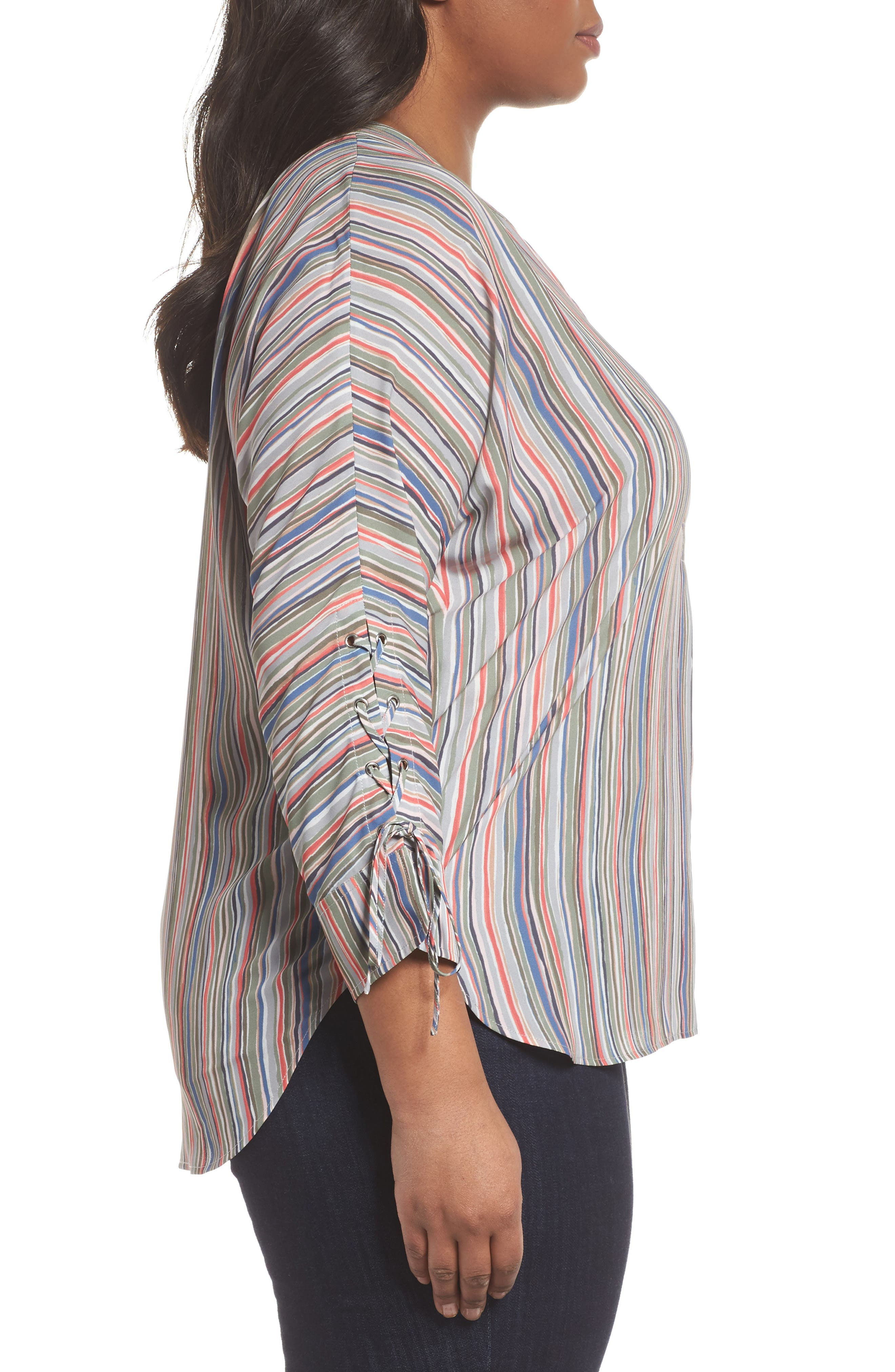 Cabana Tie Sleeve Top,                             Alternate thumbnail 3, color,                             609