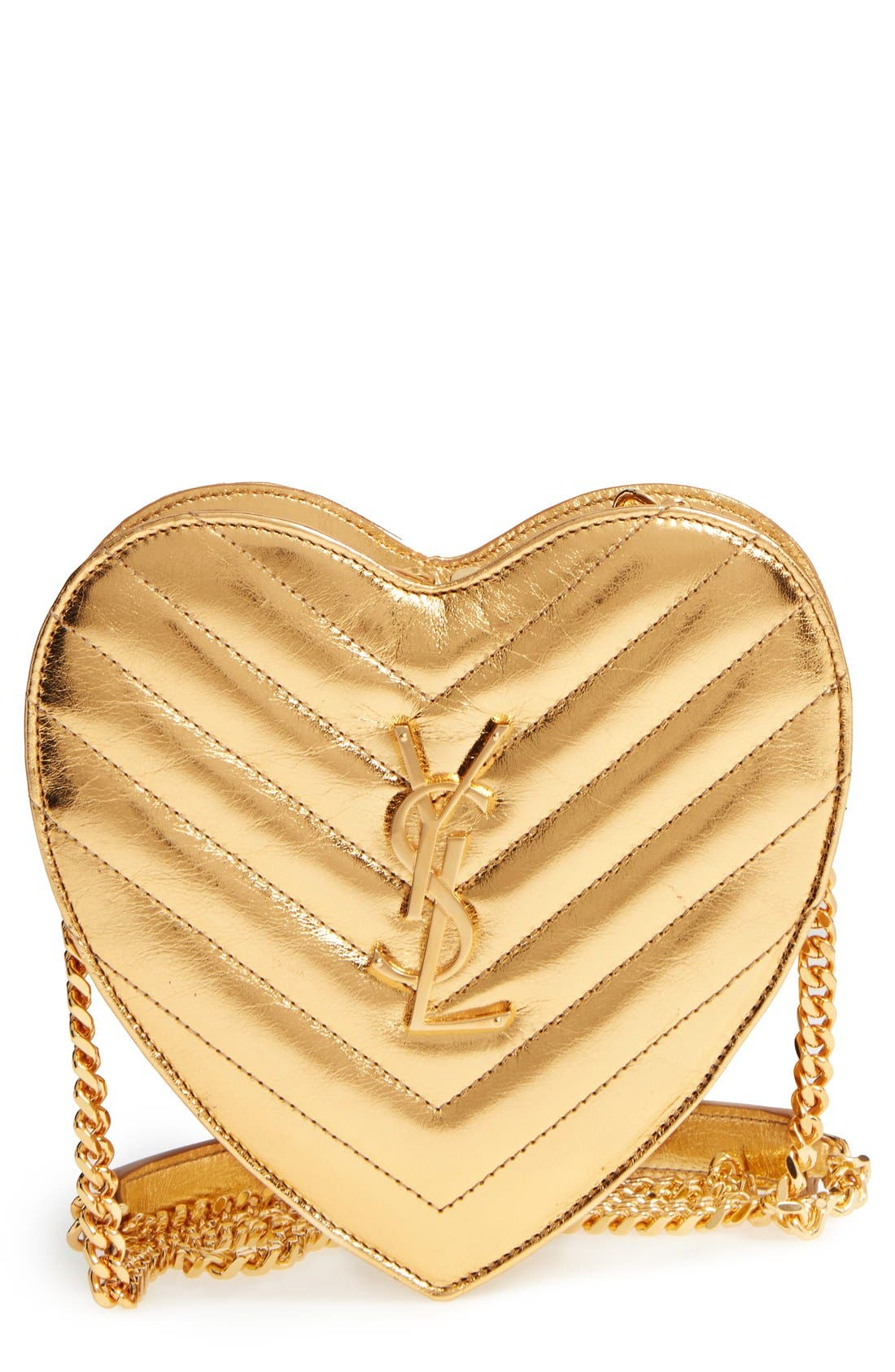 SAINT LAURENT 'Small Heart' Quilted Leather Crossbody Bag, Main, color, 717