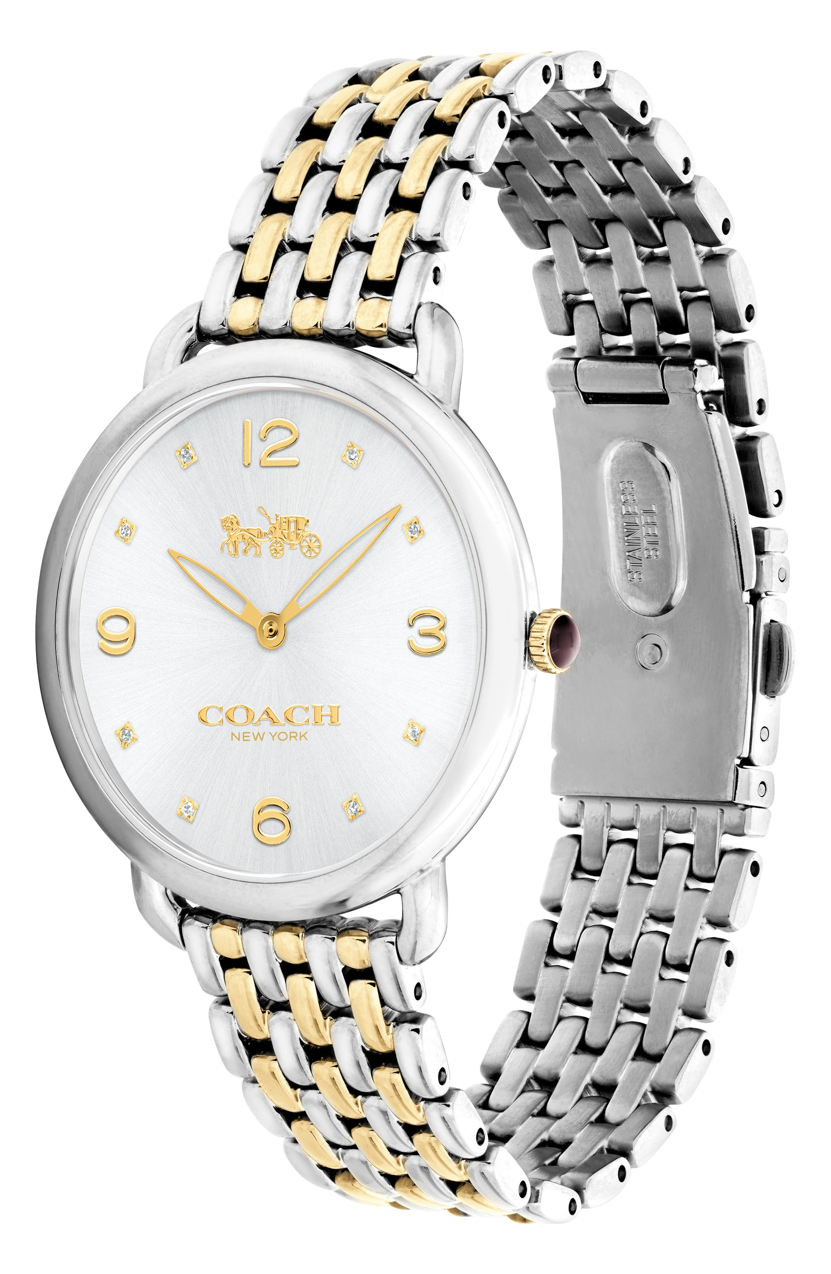 Delancey Slim Diamond Bracelet Watch, 37mm,                             Alternate thumbnail 3, color,                             SILVER/ GOLD