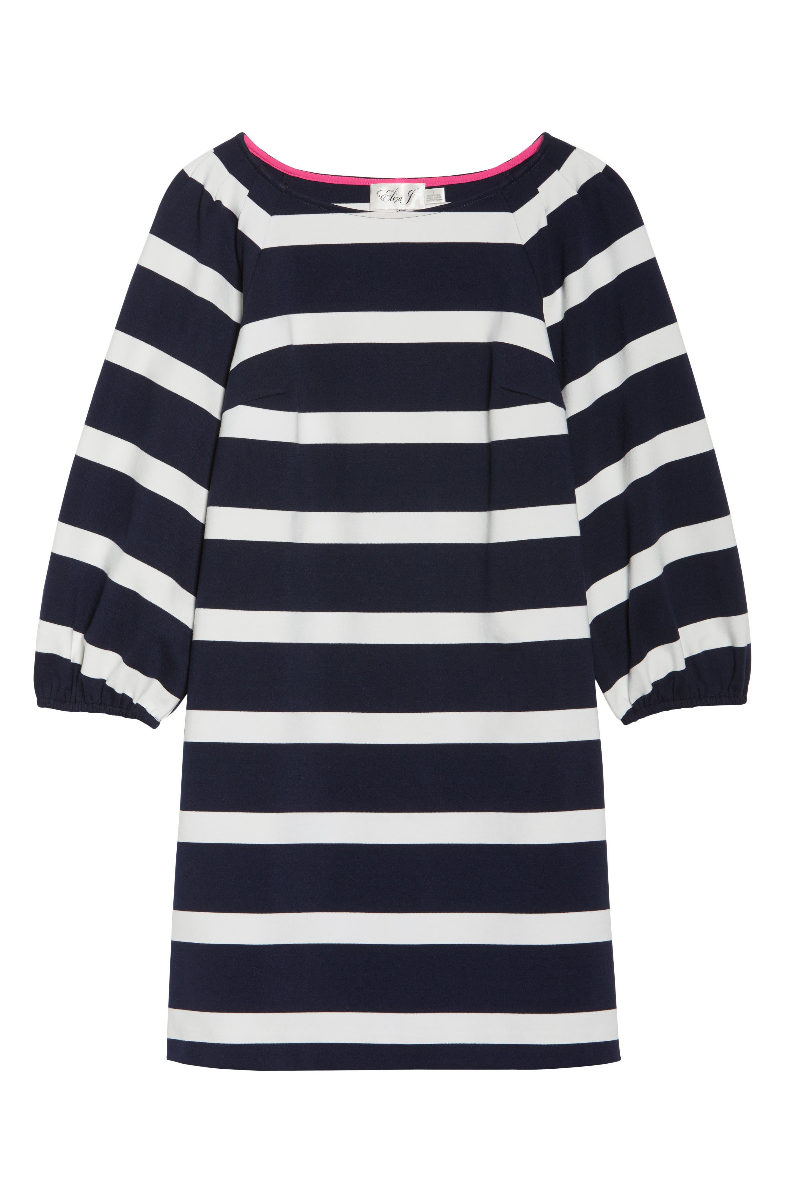 Stripe Balloon Sleeve Shift Dress,                             Alternate thumbnail 7, color,                             407