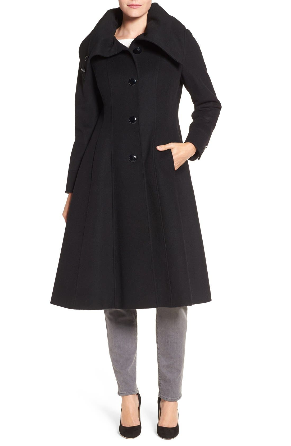High Neck Wool Blend Long Coat,                             Main thumbnail 1, color,                             001