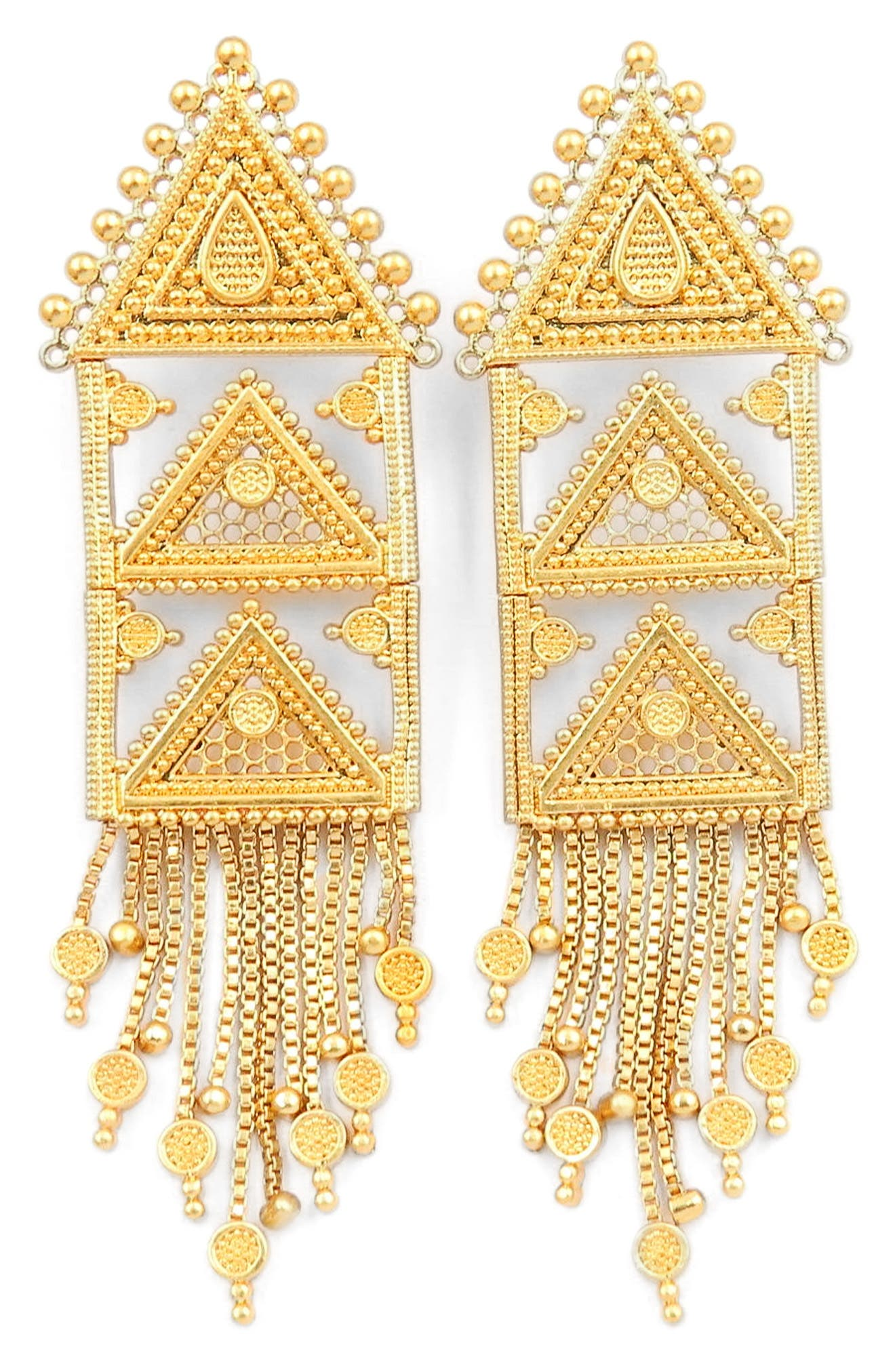 Triangle Fringe Earrings,                         Main,                         color,